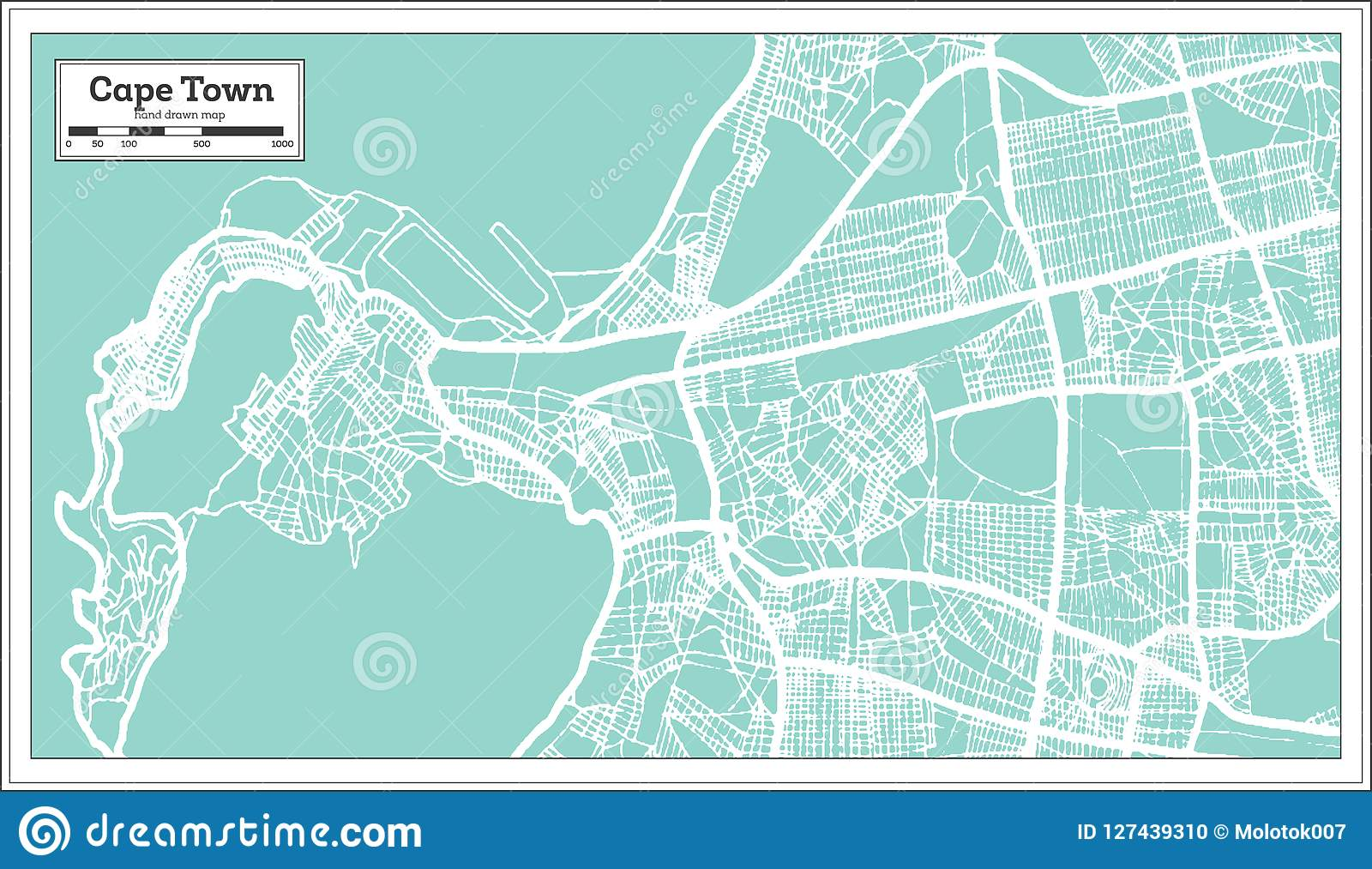Cape Town South Africa City Map In Retro Style. Outline Map. Stock Cape Town Map on