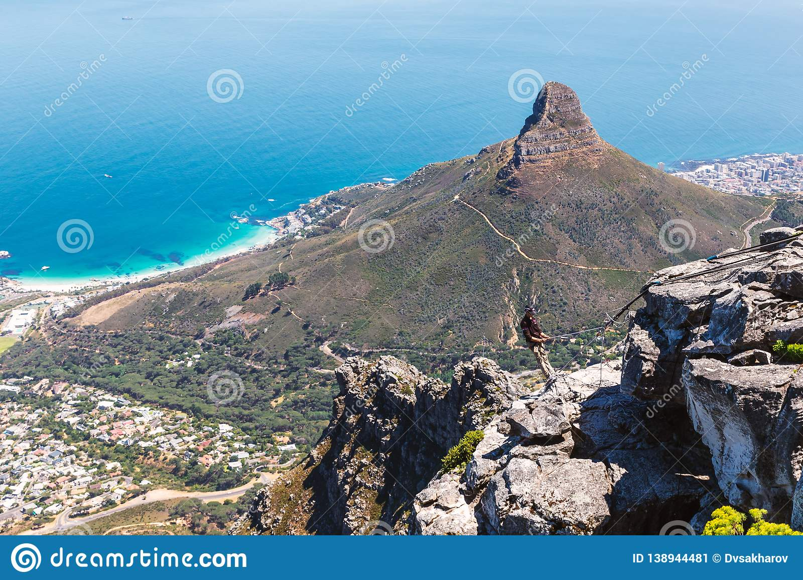 Abseiling instructor on the top of Table Mountain in Cape Town
