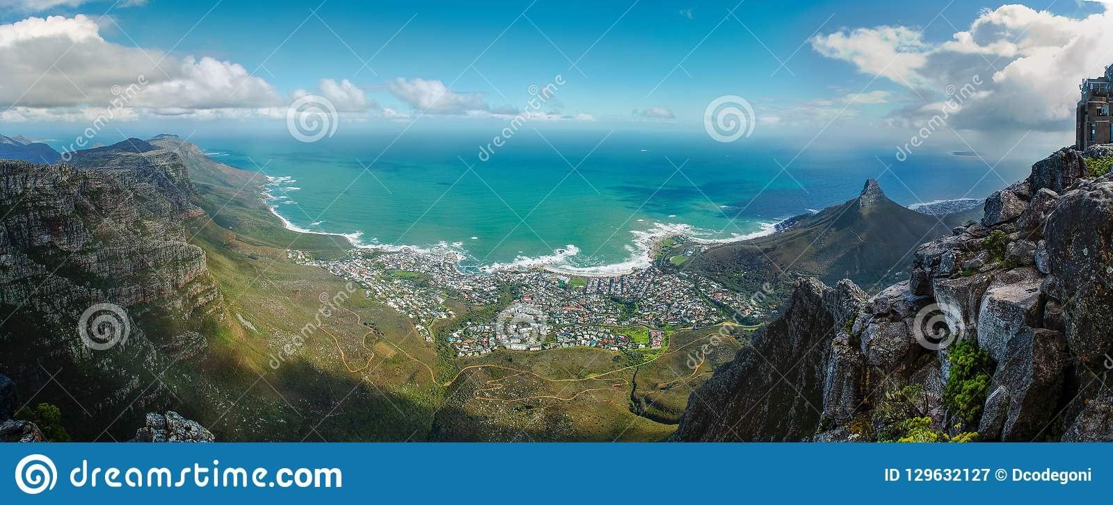 Cape Town view from table mountain. Panorama to the Atlantic Ocean
