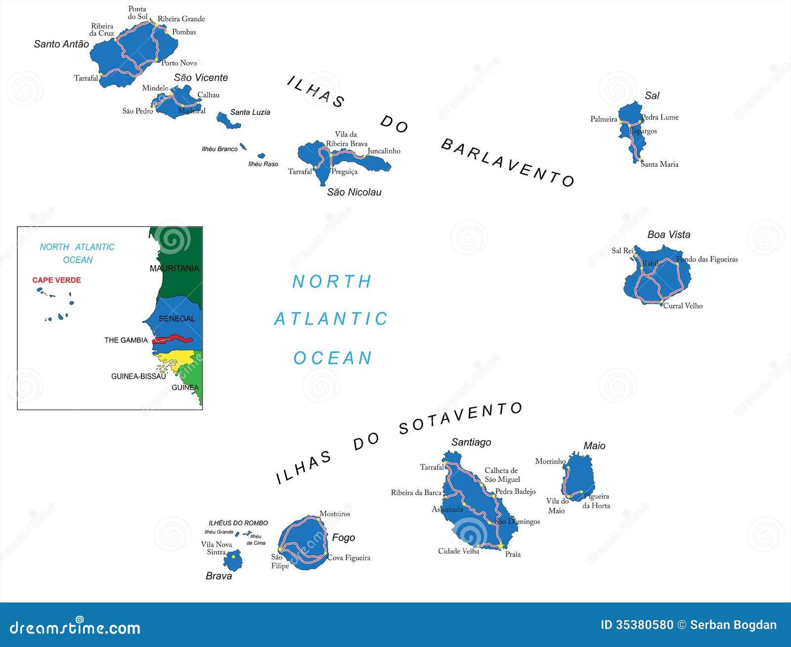 Cabo Verde Islands Map on
