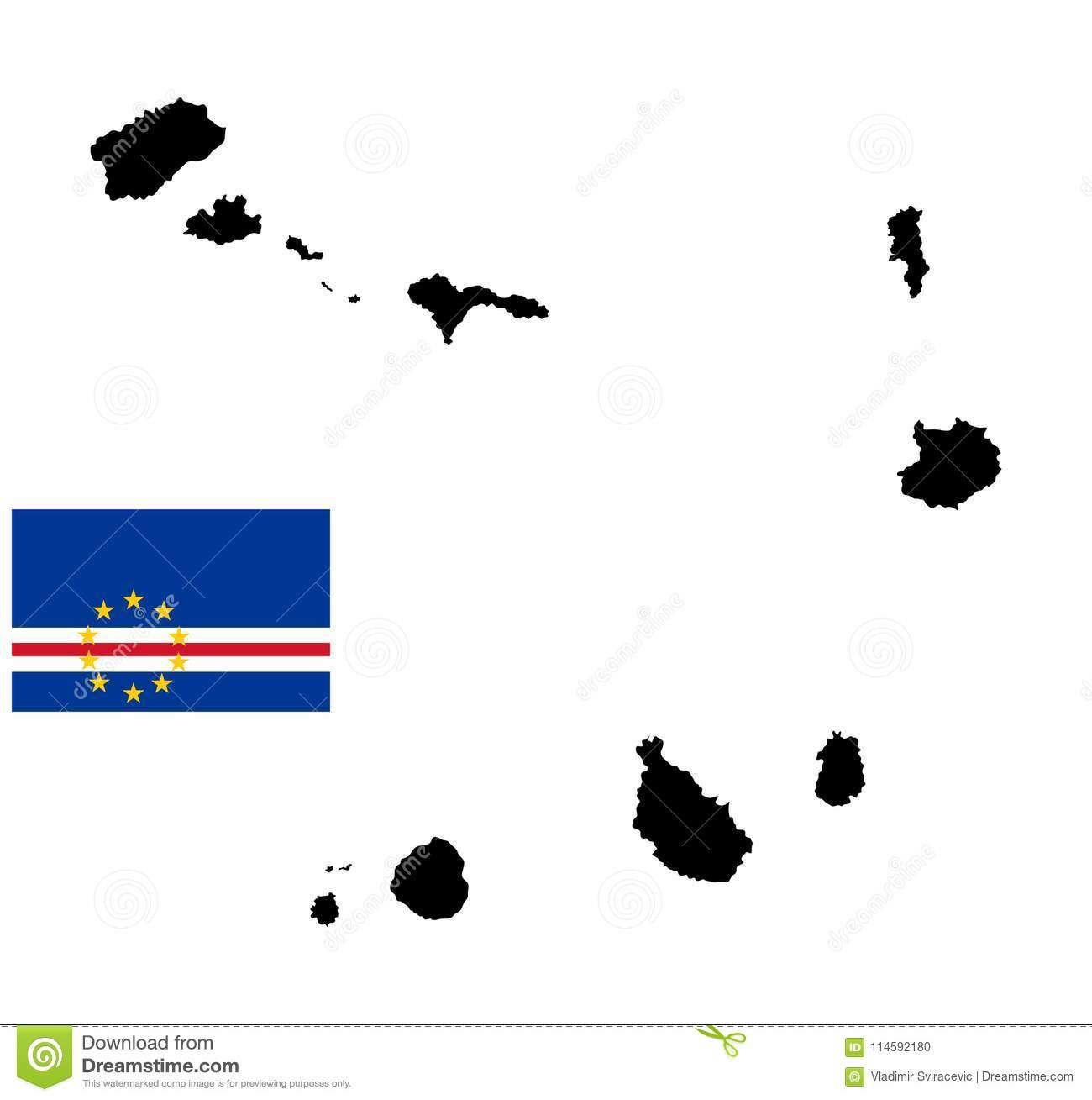 Cape Verde Islands Map Silhouette And Flag. Stock Illustration ...