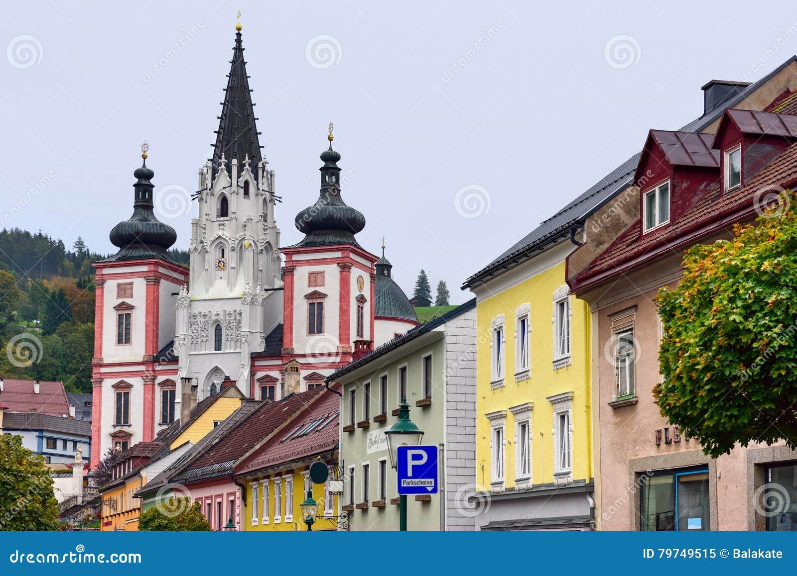 Capilla de nuestra señora en la ciudad Mariazell, sitio del peregrinaje para los católicos austria