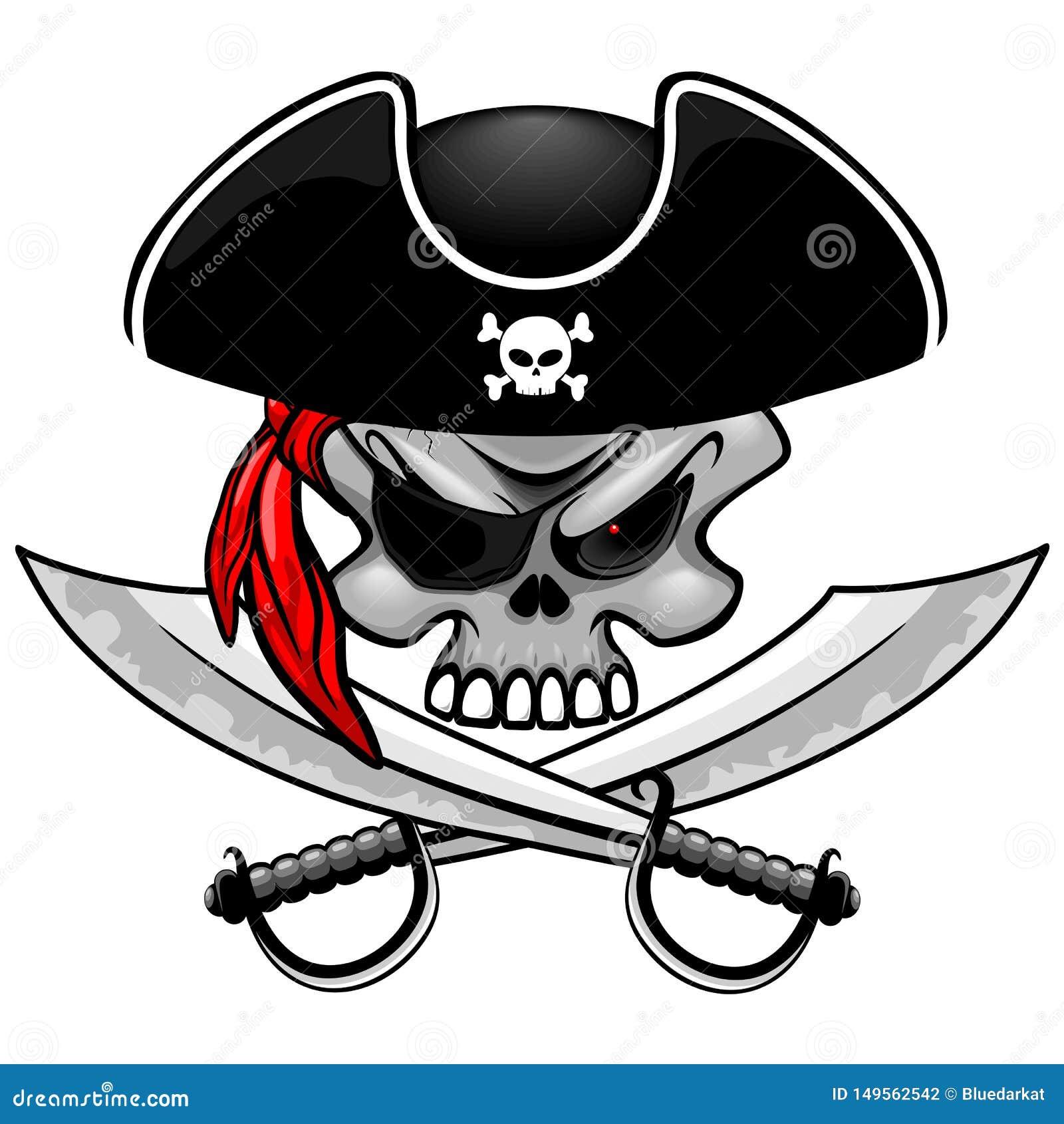 Capit?n del pirata del cr?neo con el ejemplo cruzado del vector de los sables aislado en blanco