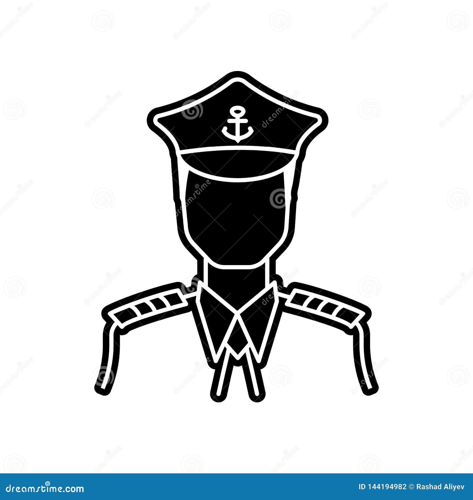 Capitaine de l ic?ne de bateau ?l?ment de Proffecions pour le concept et l ic?ne mobiles d applis de Web Glyph, ic?ne plate pour