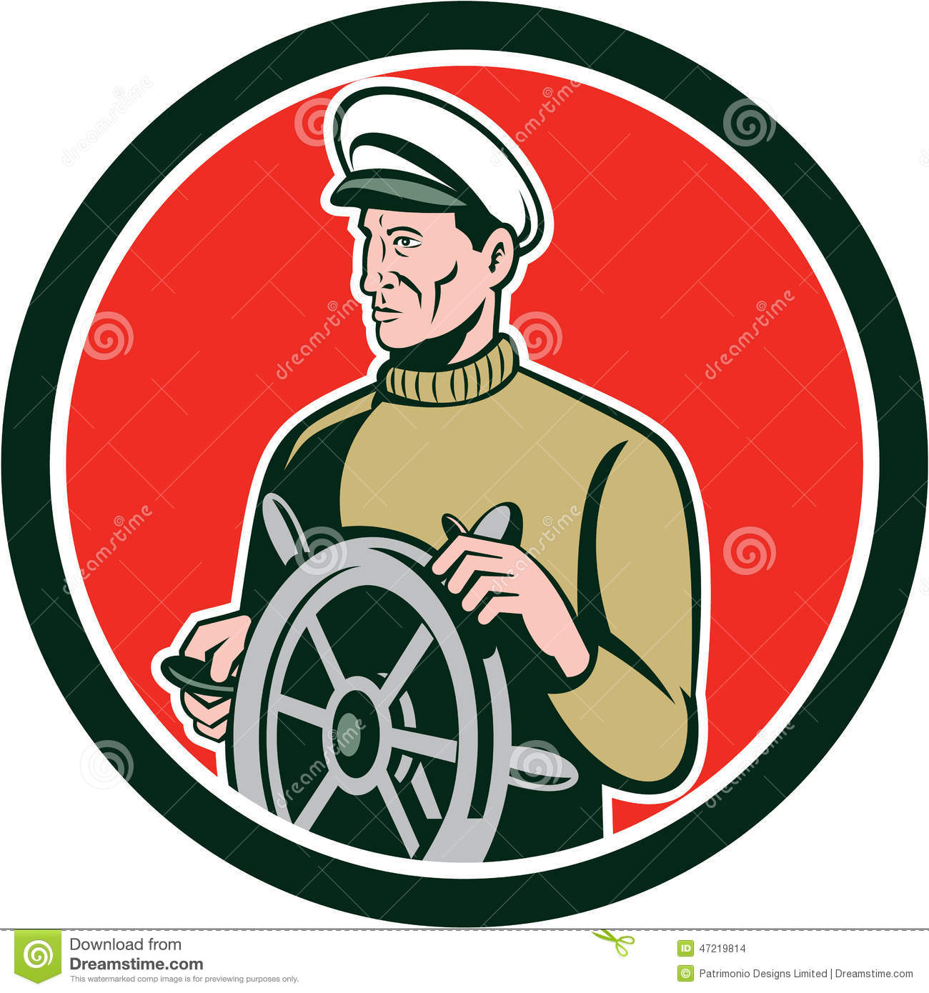 capitaine de la marine marchande de p u00eacheur wheel circle retro illustration stock