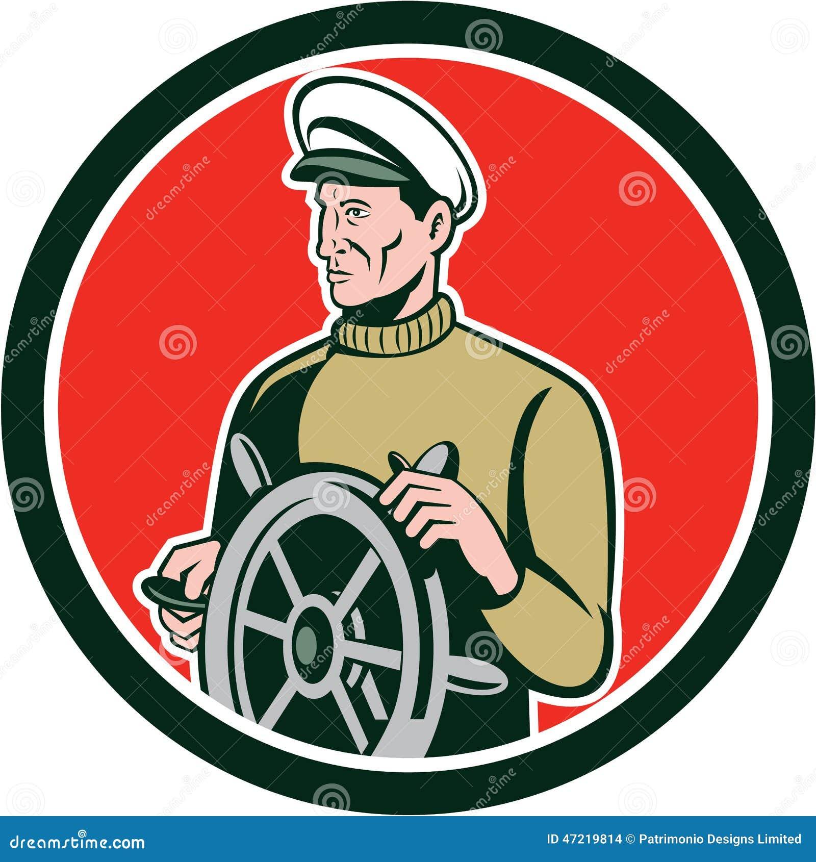 capitaine de la marine marchande de p u00eacheur wheel circle retro illustration stock