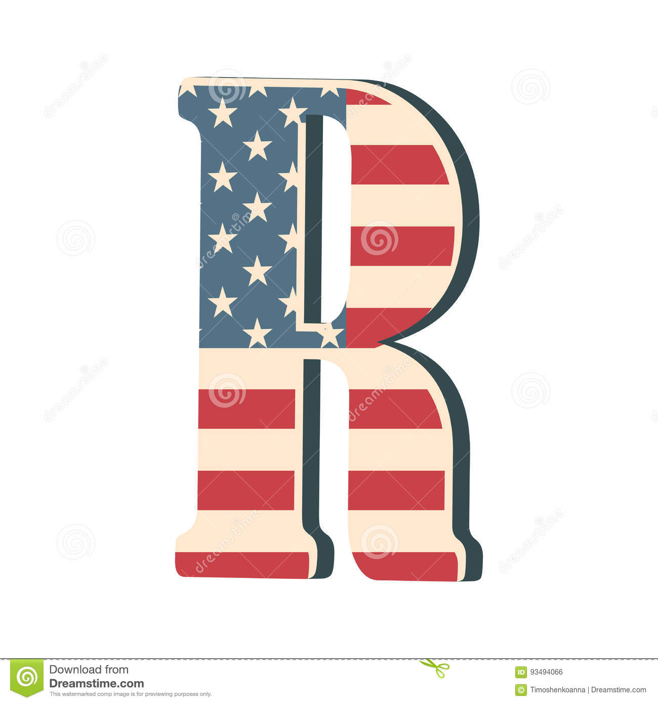Capital 3d Letter R With American Flag Texture Isolated On White