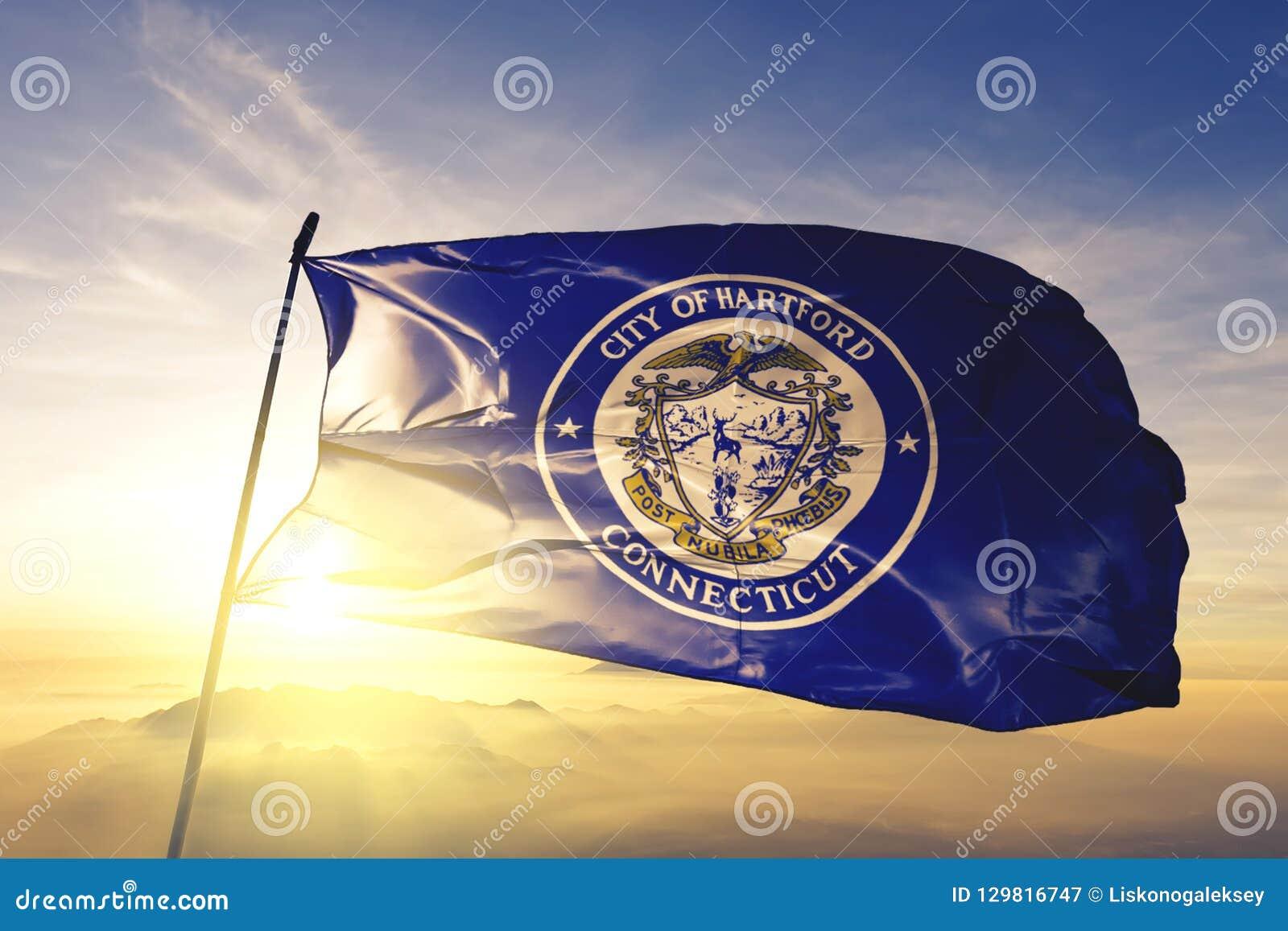 Capital de la ciudad de Hartford de Connecticut de la tela del paño de la materia textil de la bandera de Estados Unidos que agit
