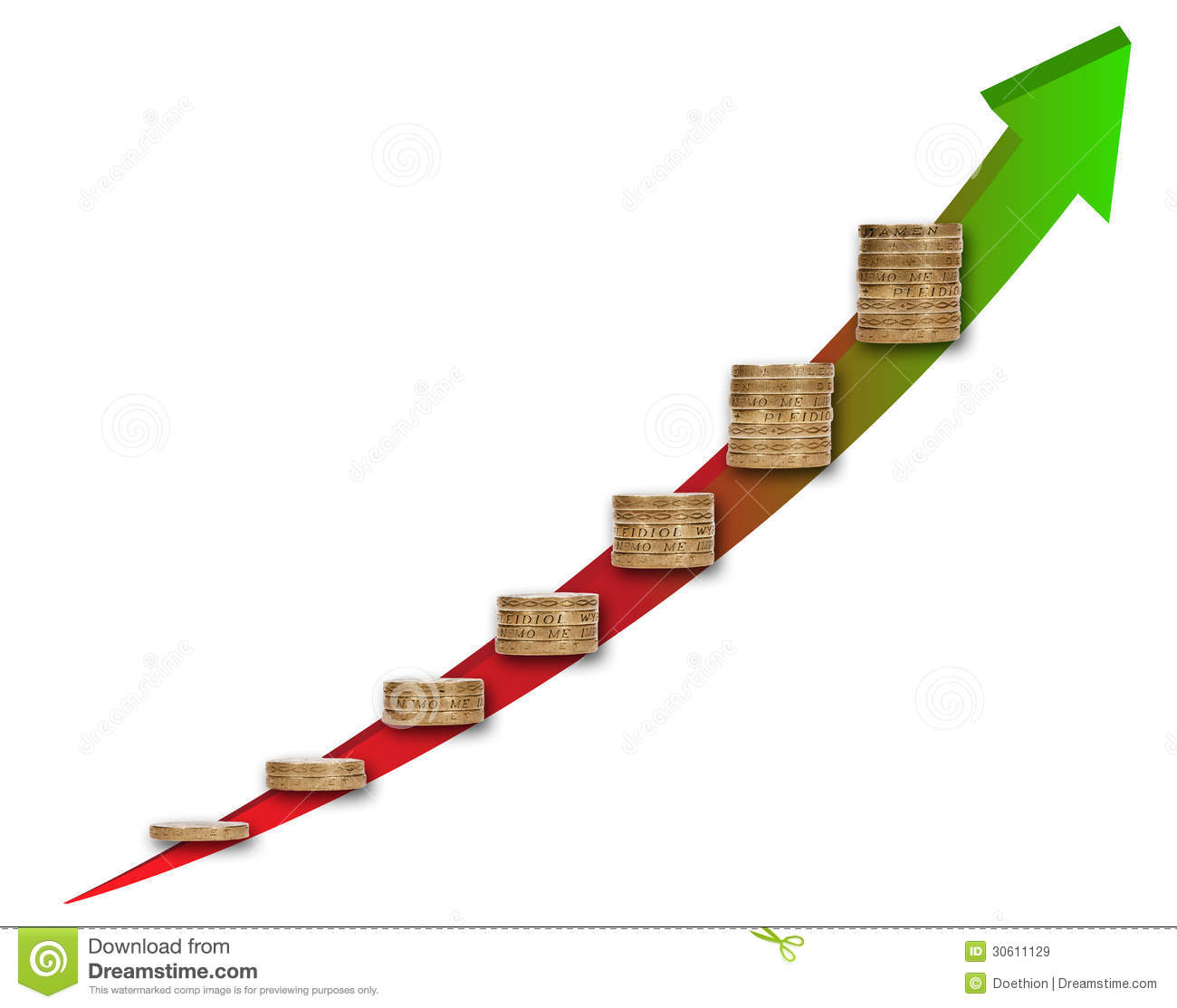 Capital Growth Chart Concept With Coin Stacks Stock Image Image Of