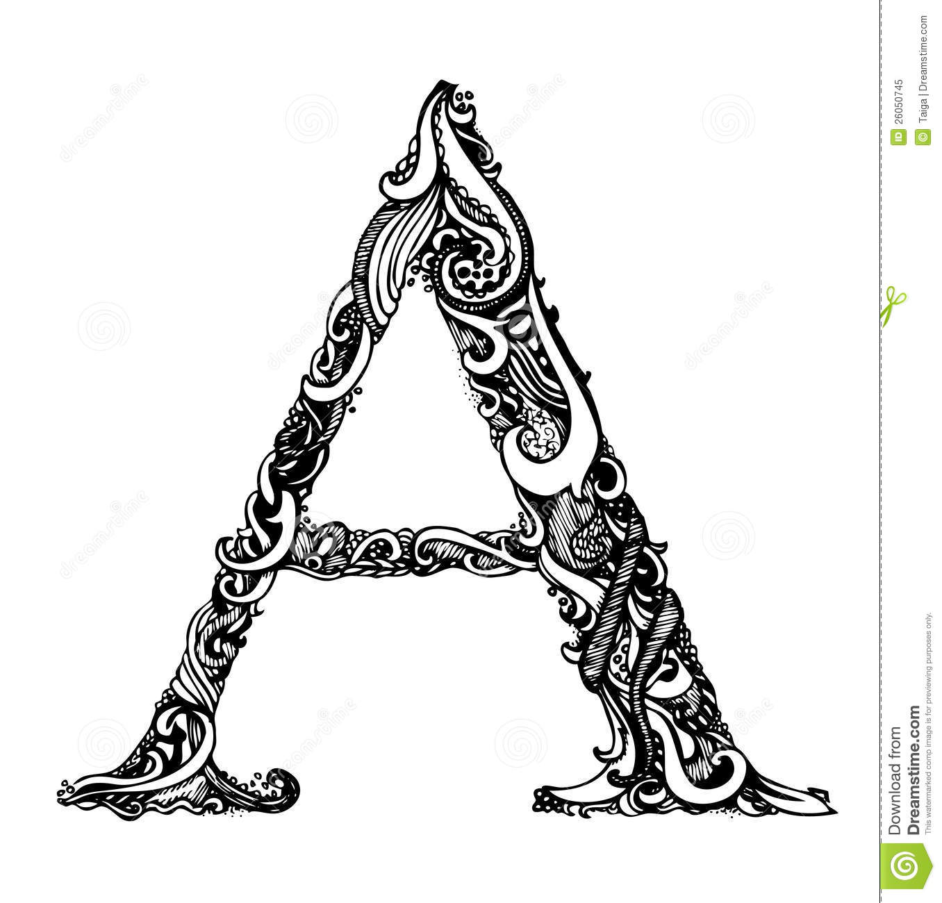 Capital Letter A - Calligraphic Vintage Swirly Royalty Free Stock ...
