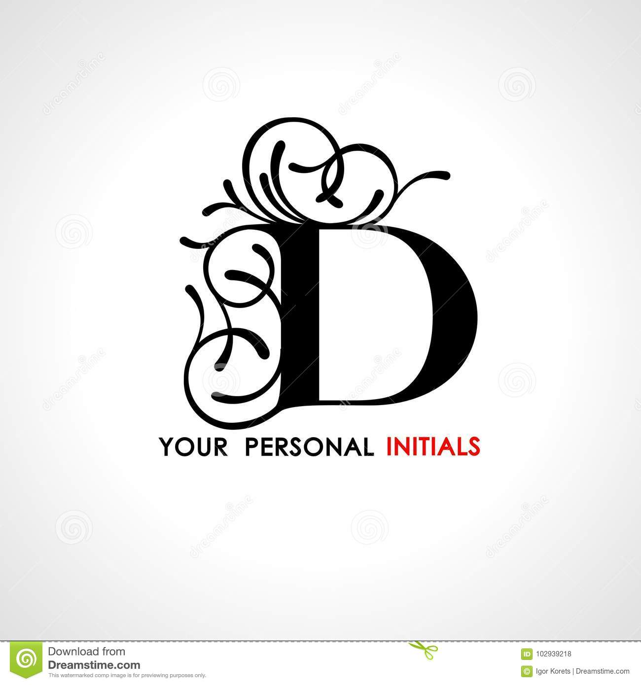 Capital Letter D Decorated With Vegetable Ornament Template For