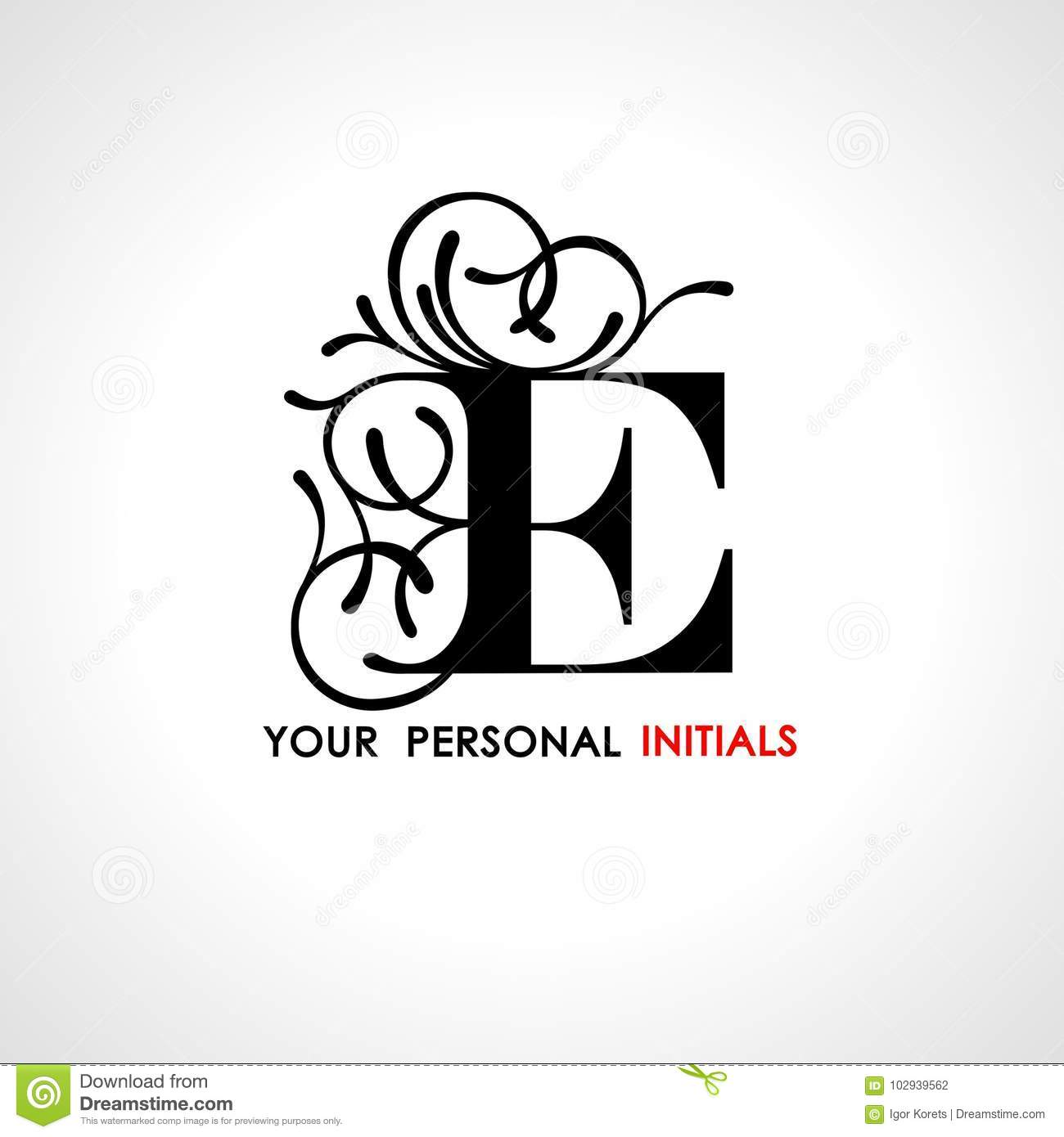 capital letter e decorated with vegetable ornament template for