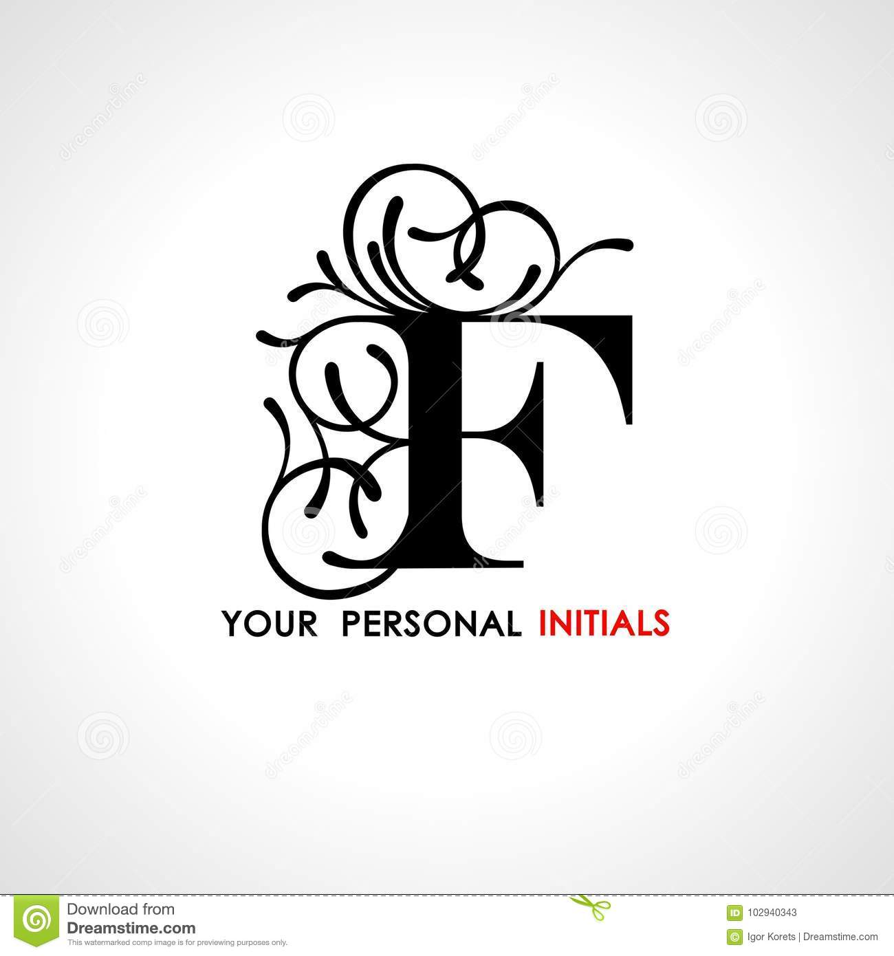 capital letter f decorated with vegetable ornament template for