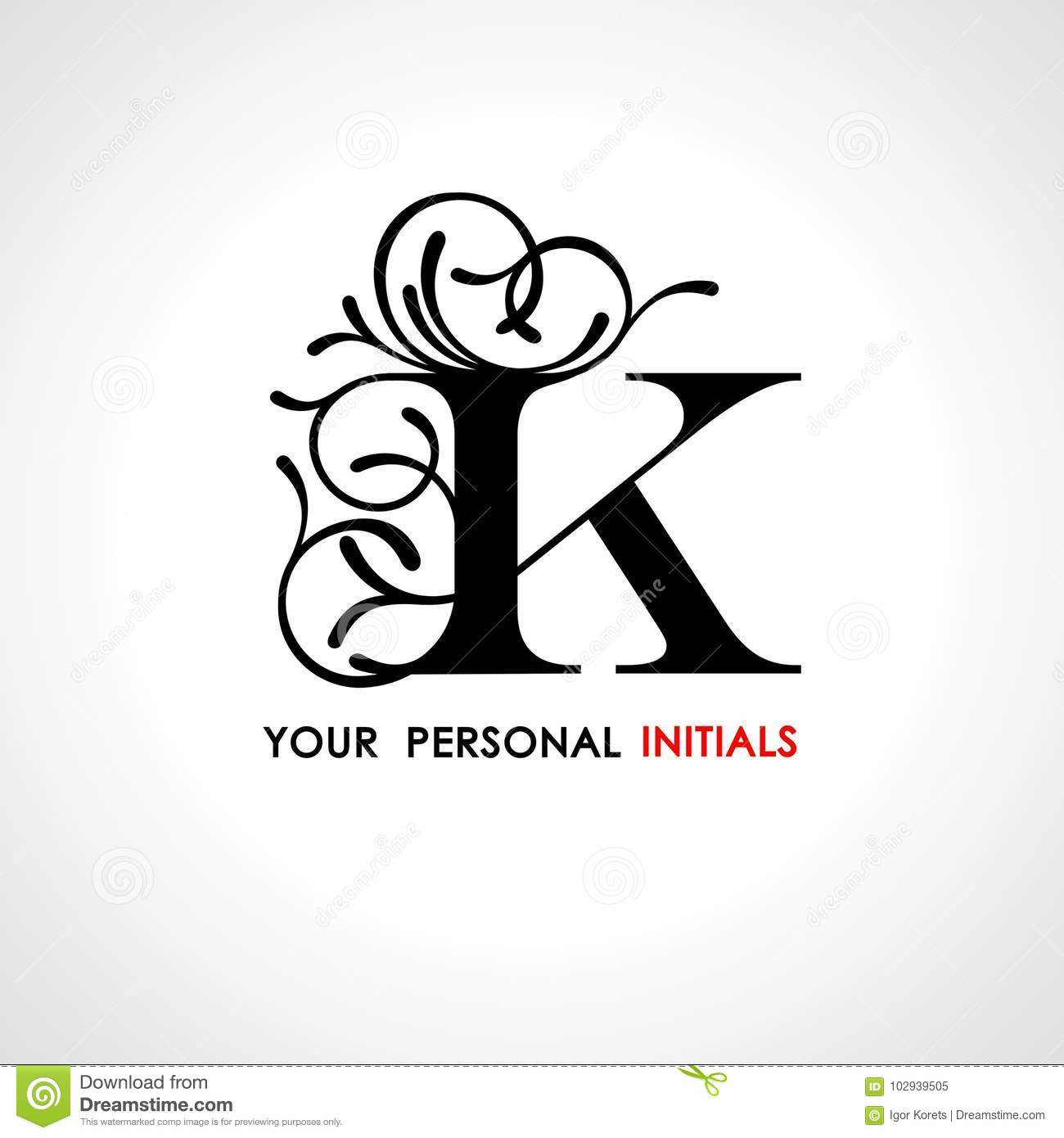 capital letter k decorated with vegetable ornament template for