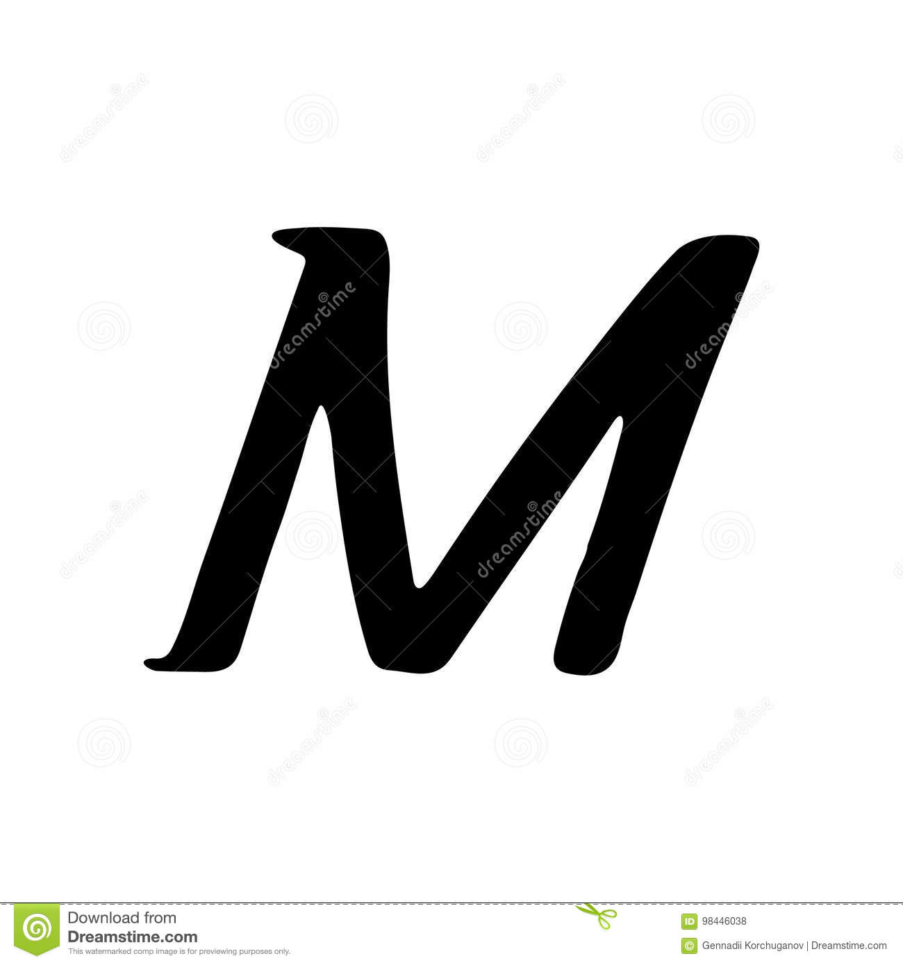 Capital Letter M Painted By Brush