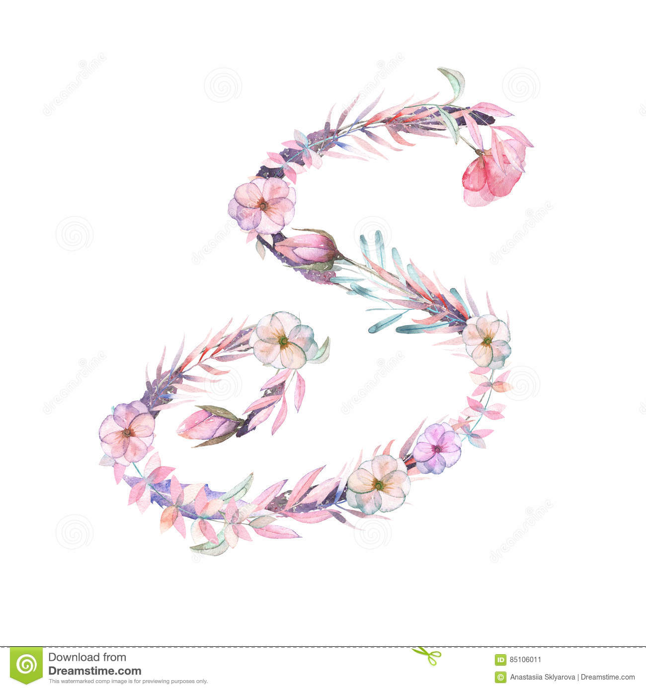 Capital Letter A Of Watercolor Pink And Purple Flowers Stock Image