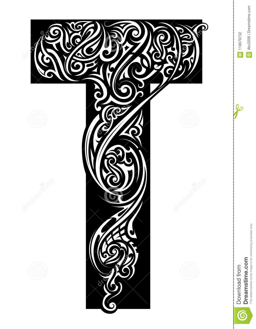 Letter Ornamented With Tattoo Swirls Font Type T