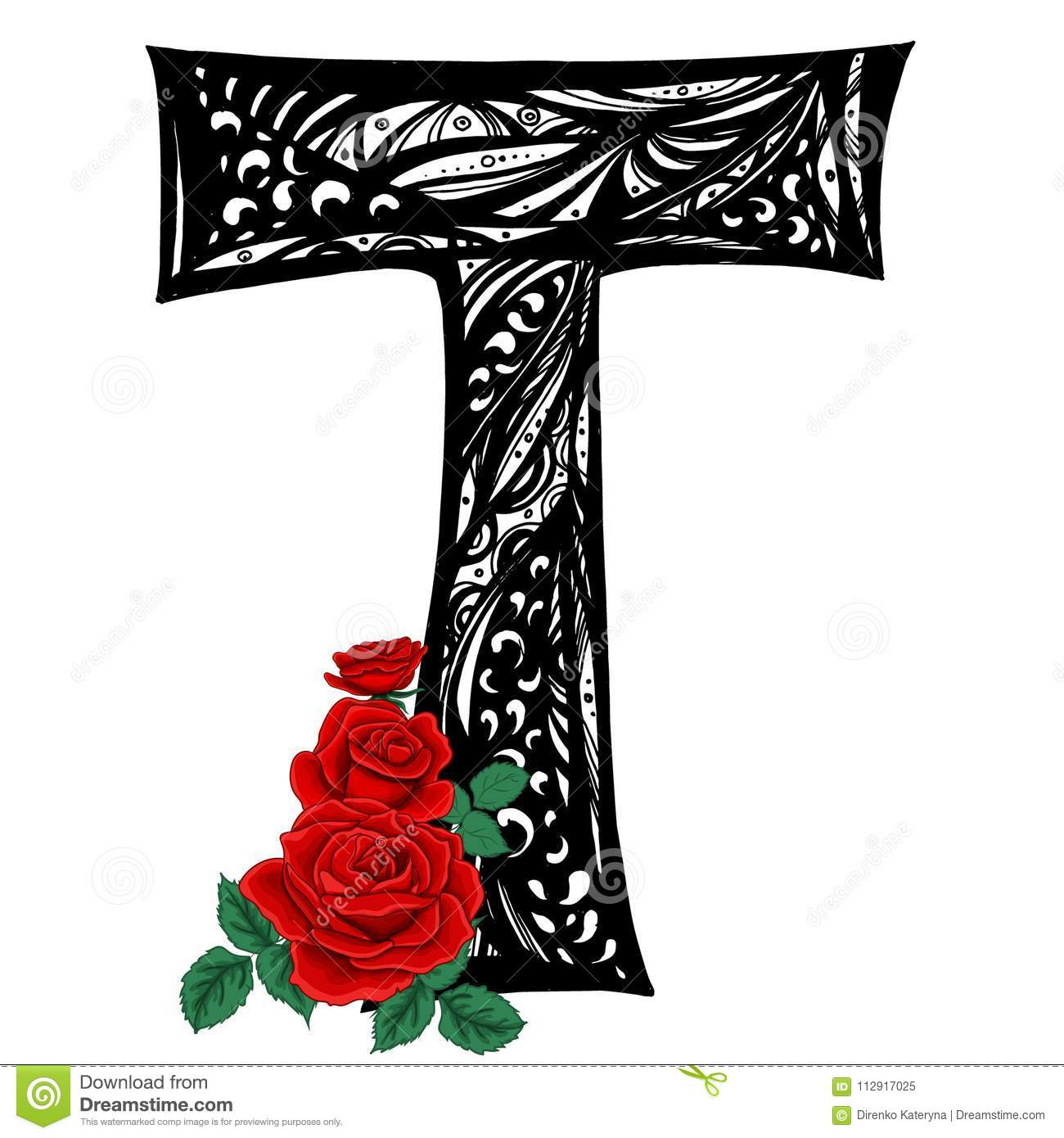Download Capital Letter T With Red Roses In Vector Doodle Style Stock Illustration