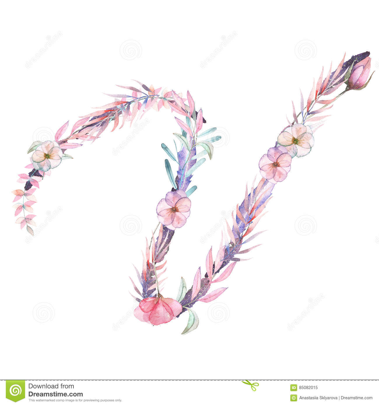 Capital letter v of watercolor pink and purple flowers stock capital letter v of watercolor pink and purple flowers altavistaventures Choice Image
