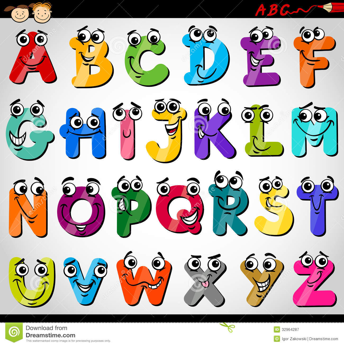 A Z Cartoon Characters : Capital letters alphabet cartoon illustration royalty free