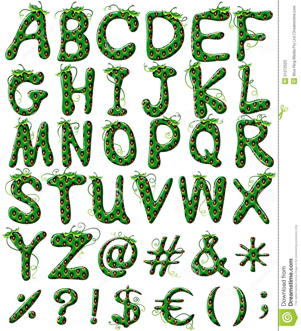 Capital Letters Of The Alphabet In Green Color Stock Vector ...
