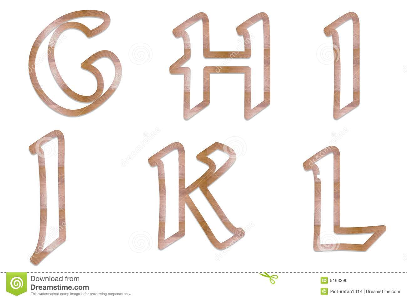 Download Capital Letters Wood Outline 2 Stock Illustration
