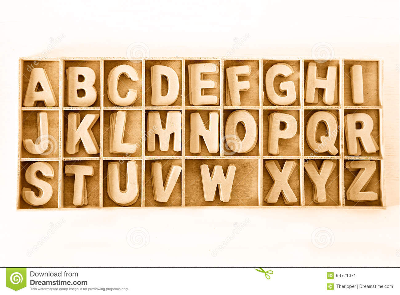Capital Wooden Block Letter Abc Alphabet Set In A Wood Box Stock