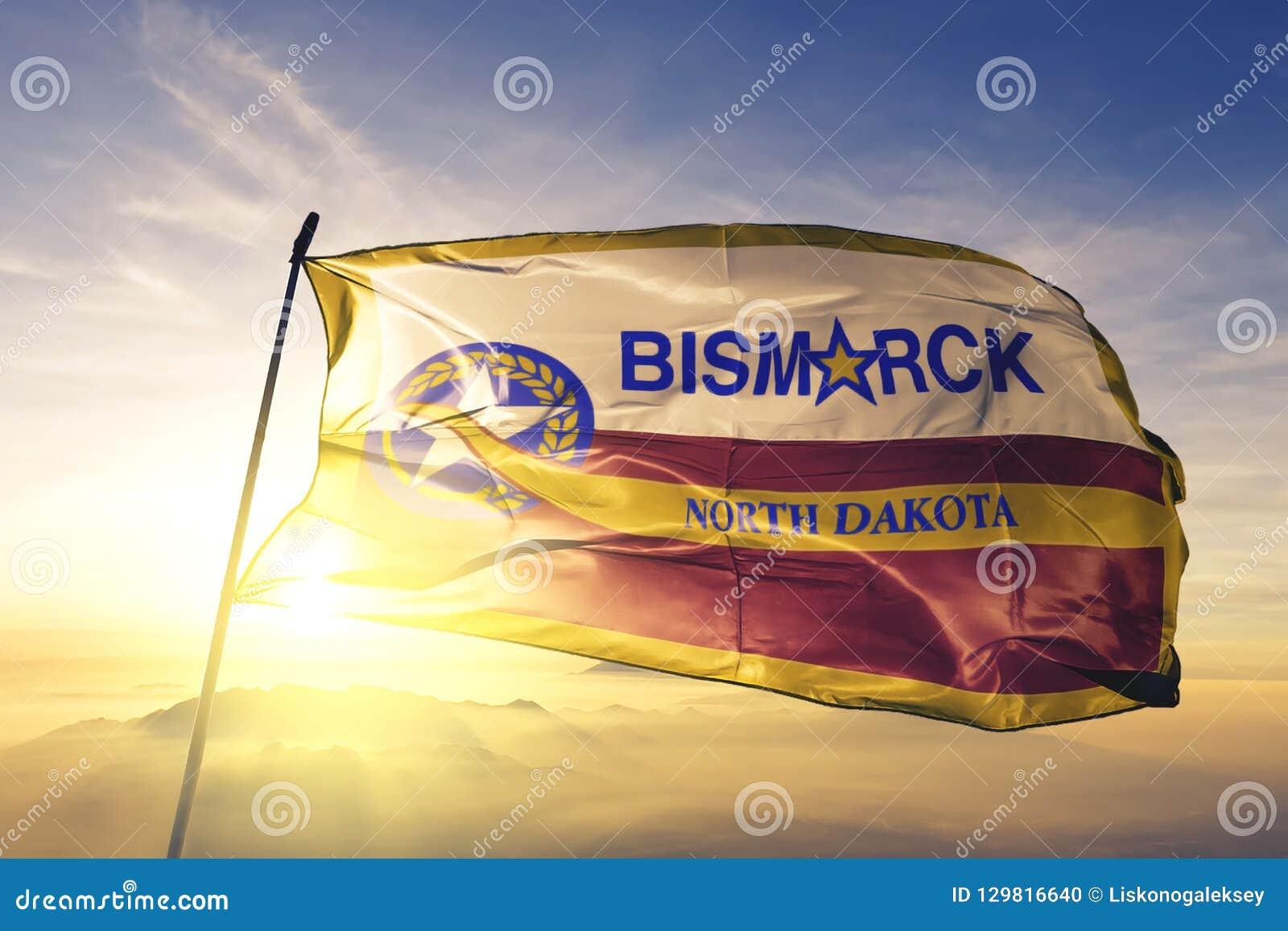 Capitale della città di Bismarck del Nord Dakota del tessuto del panno del tessuto della bandiera degli Stati Uniti che ondeggia