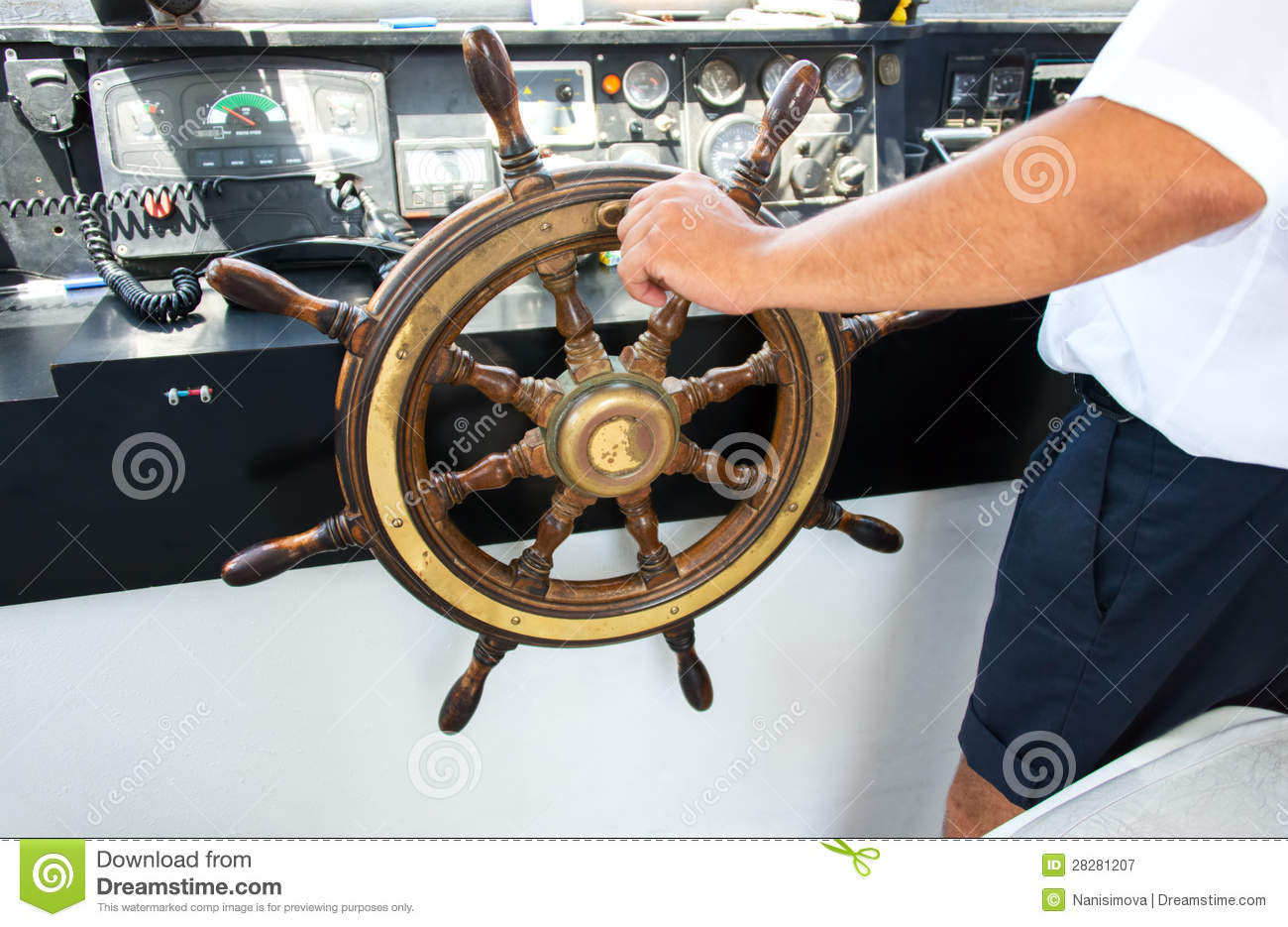 Capitan Hand Steering A Boat Royalty Free Stock ...