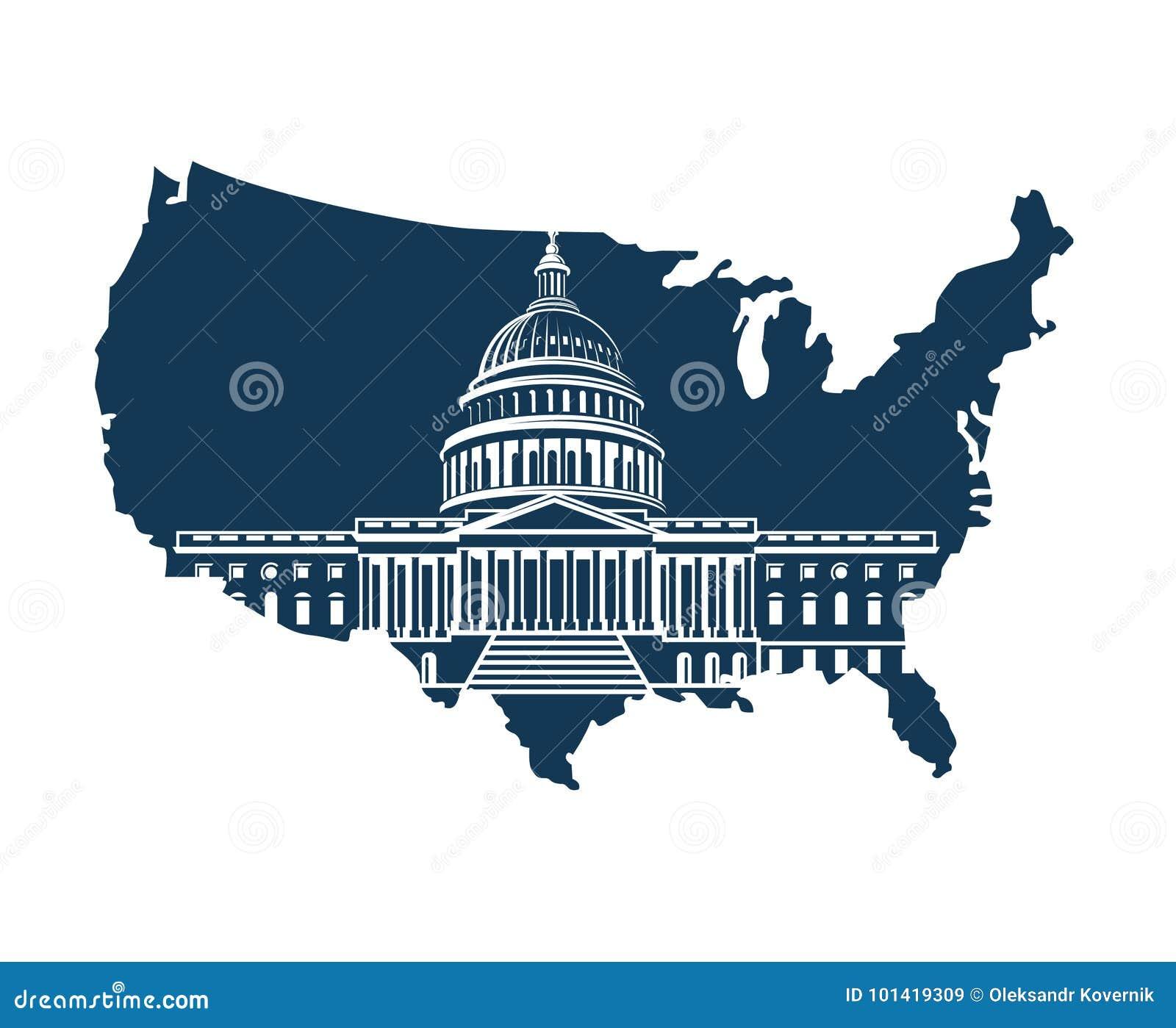 Capitol budynek na tle mapa