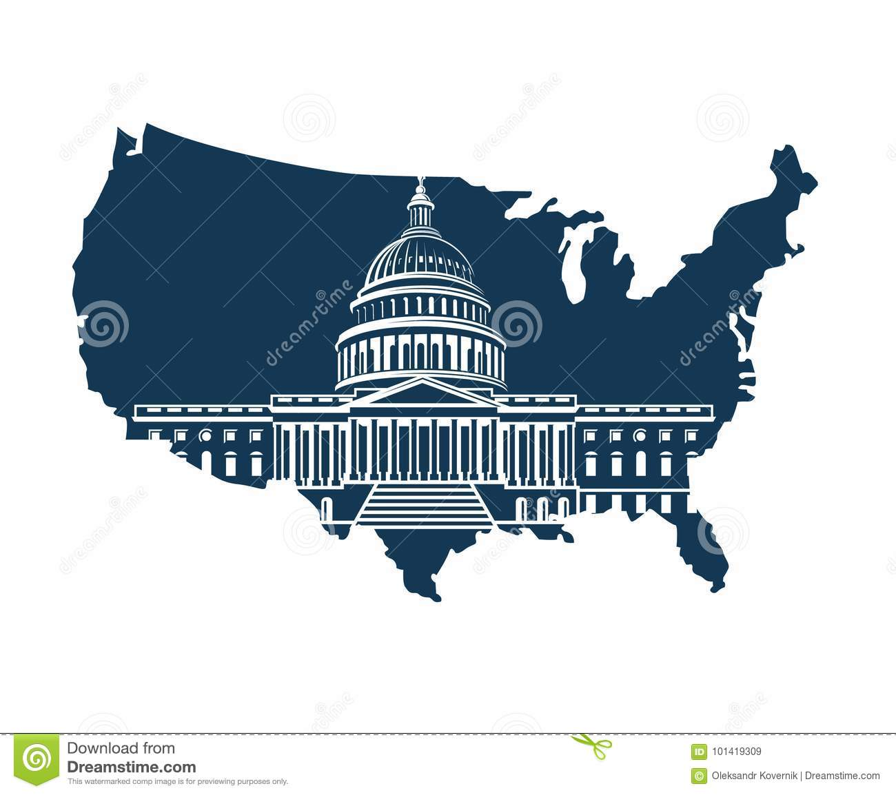 Map Of United States Washington Dc.Capitol Building On Background Of The Map Stock Vector
