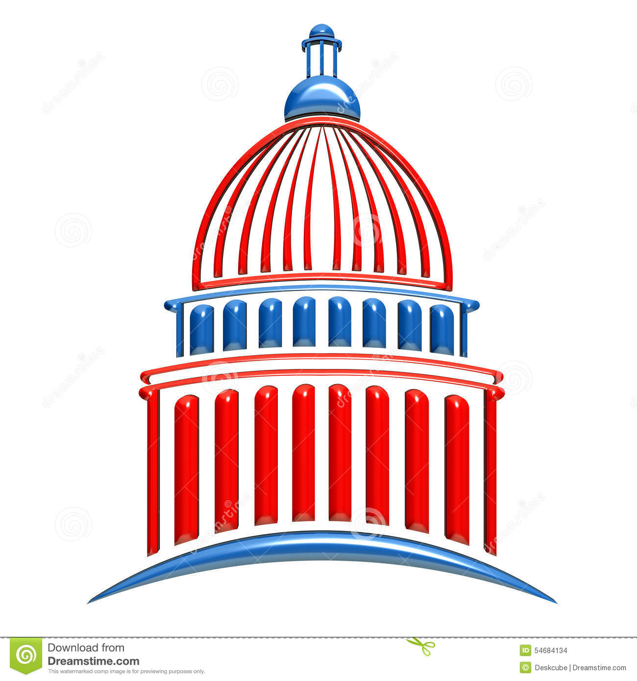 Capitol Building Logo In Red White And Blue Stock