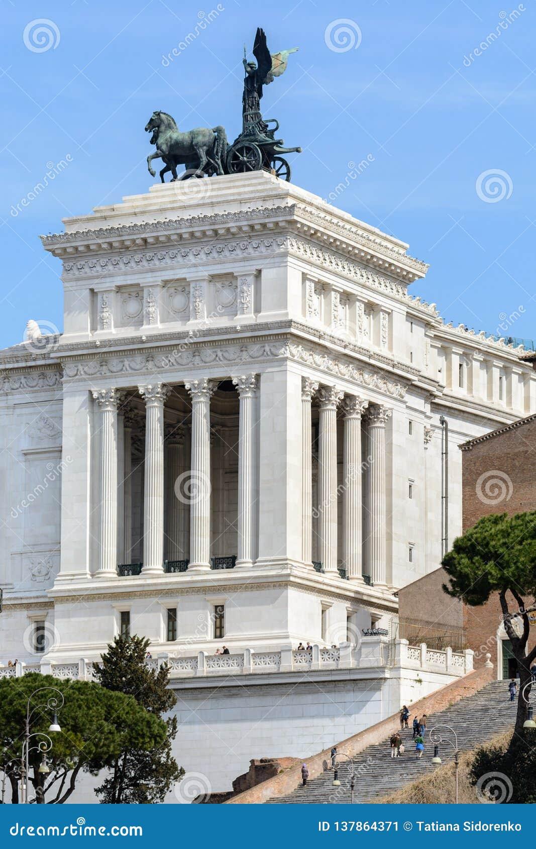 Capitol Hill In het centrale deel van herdenkings complex van Vittoriano is er een brons ruiterstandbeeld van Victor Emmanuel II
