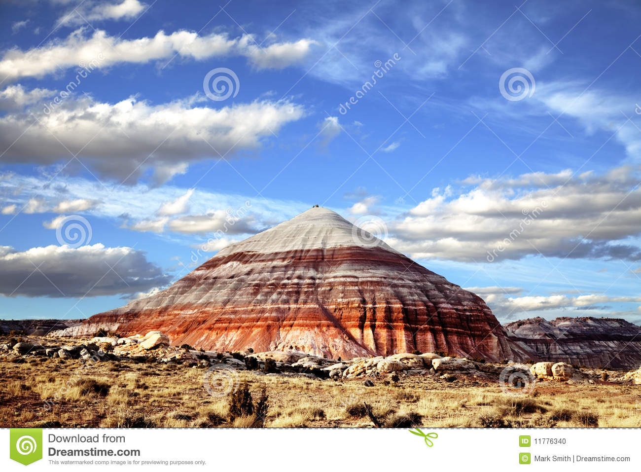 ... formations in Capitol Reef National Park with blue sky s and clouds