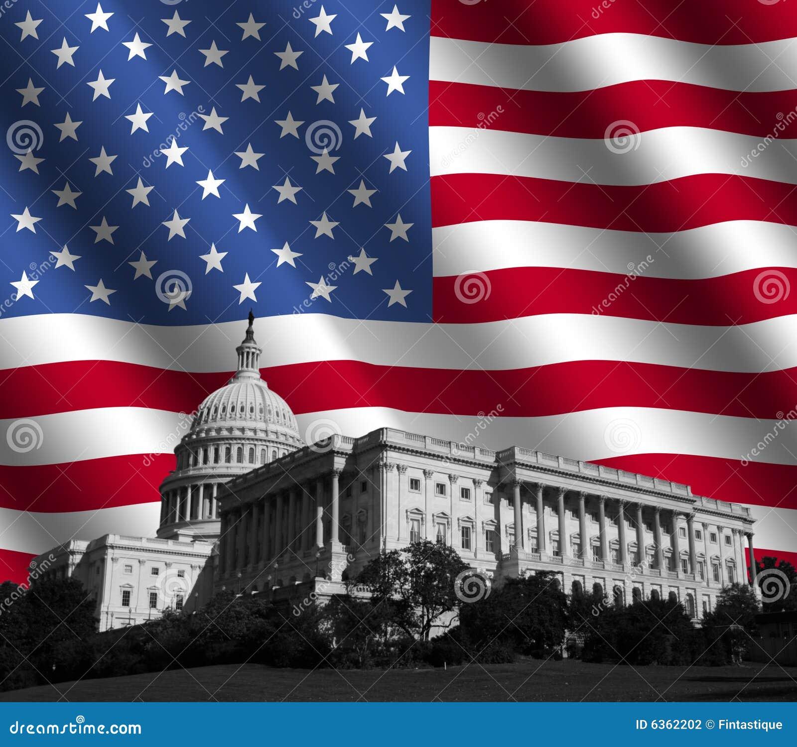 Capitolio de los E.E.U.U. con el indicador americano