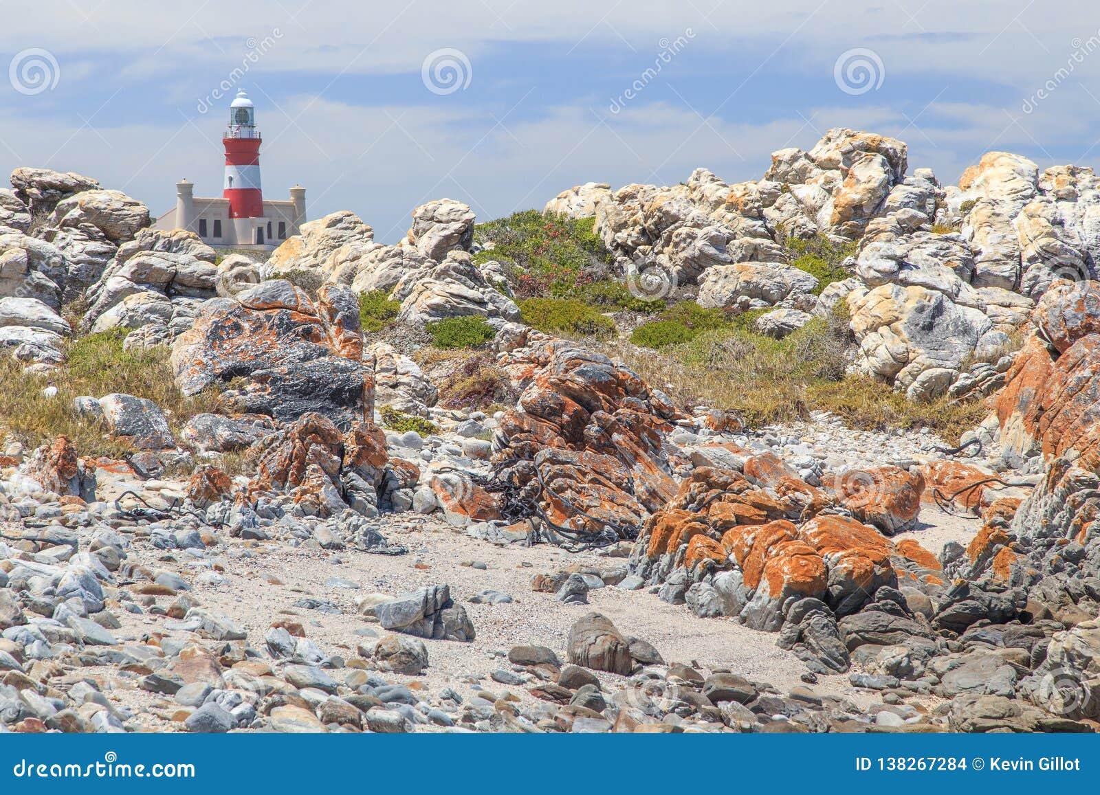 Capo Agulhas del faro in Sudafrica