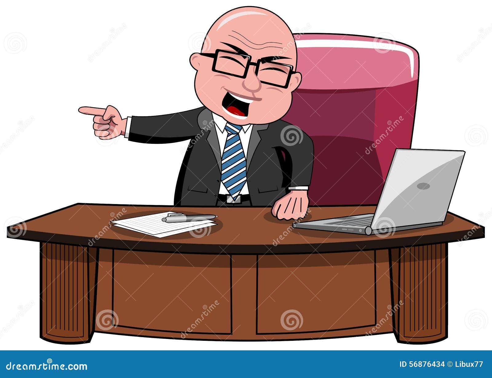 Capo Desk di Bald Cartoon Angry dell uomo d affari