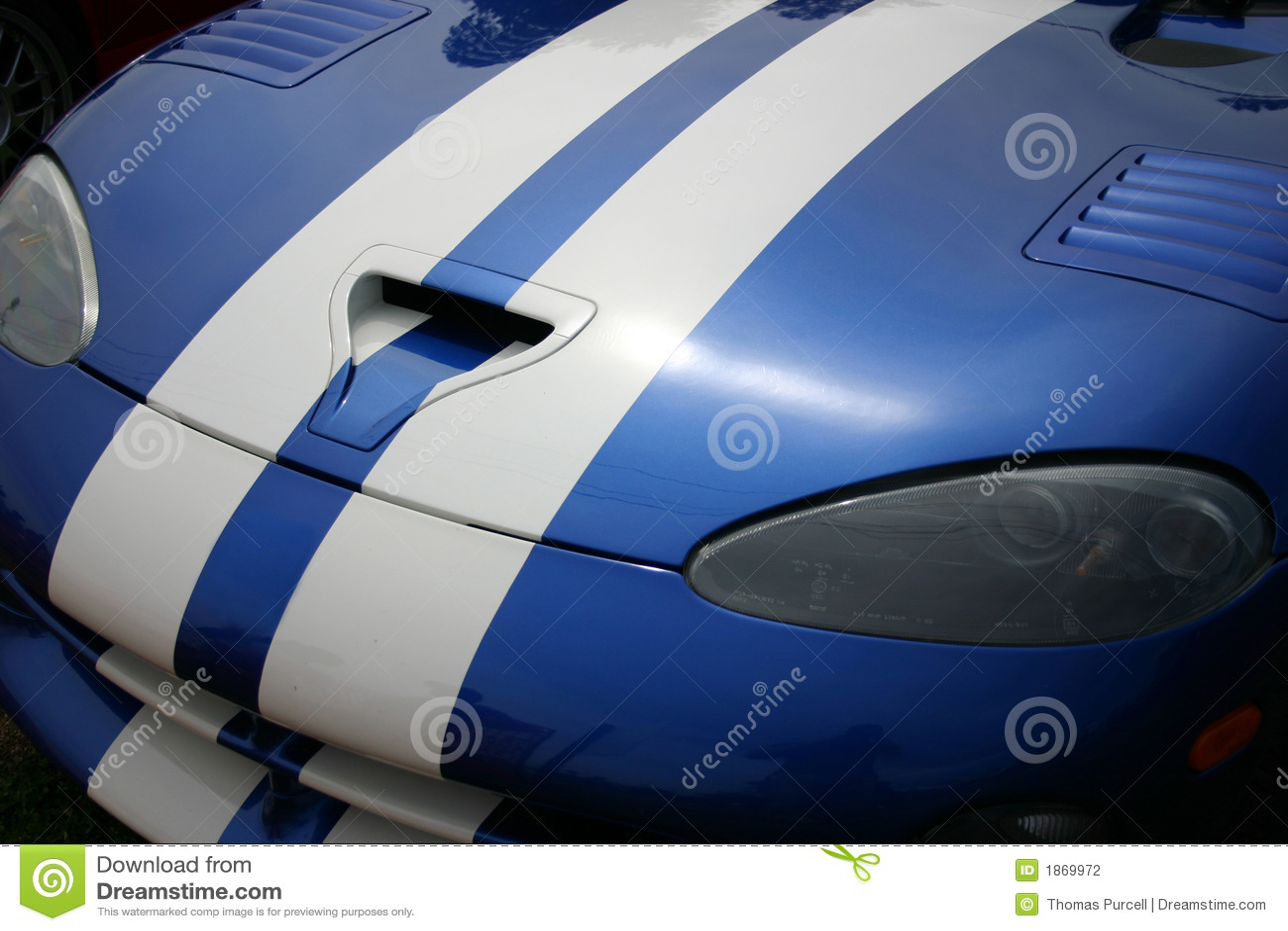 Capo motor azul de Sportscar