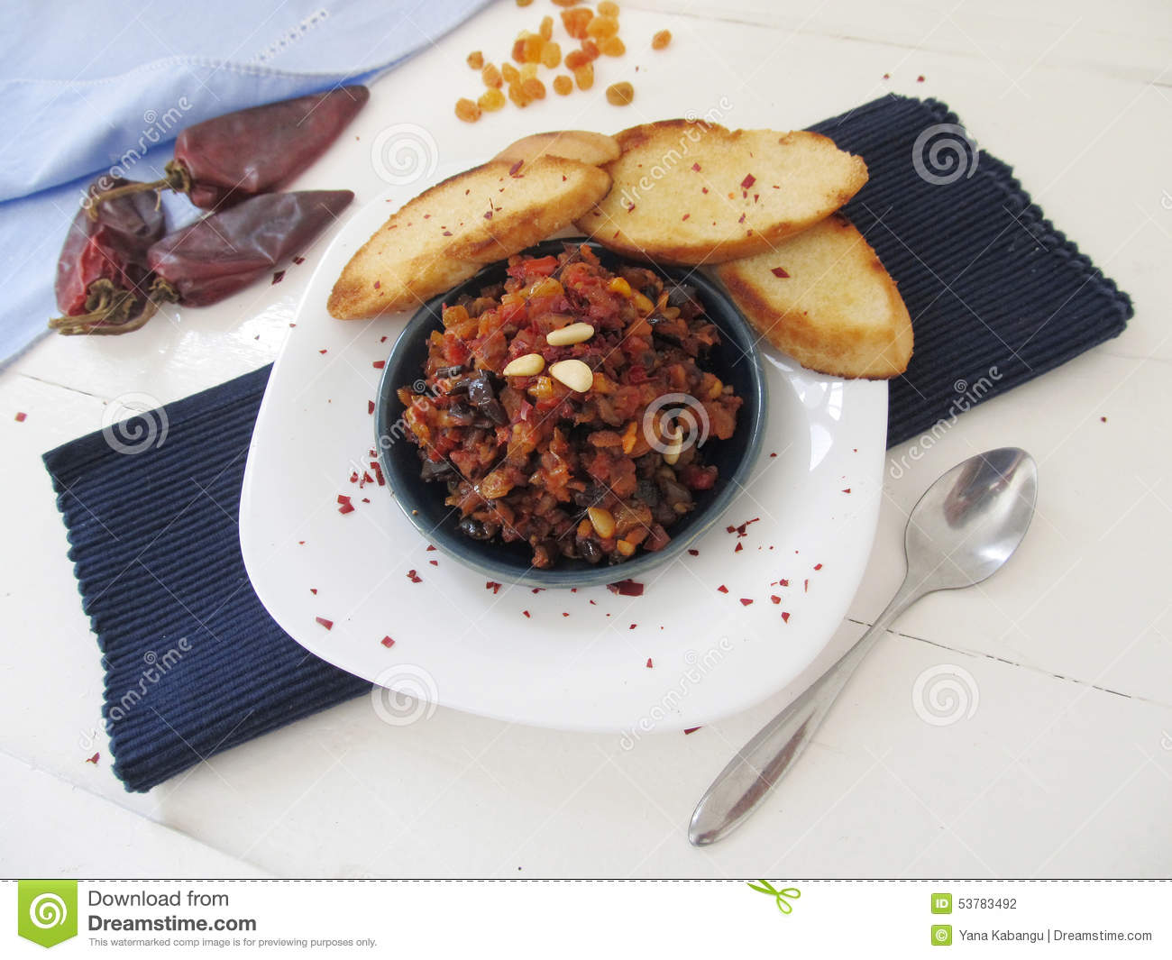 Caponata - eggplant relish with tomatoes, onion, pine nuts and raisins ...