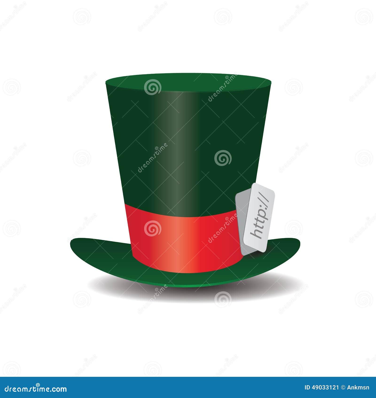 Cappellaio Matto verde del cappello di Internet illustrazione vettoriale 07e5e6b512f8