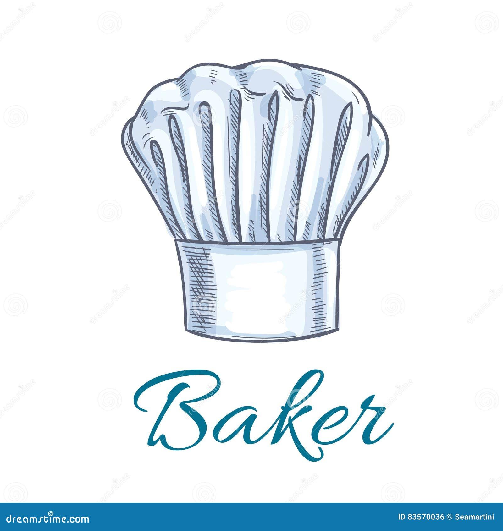 Schizzo del cappuccio del cappello o del panettiere del cuoco unico Toque  bianco di un personale della cucina del ristorante francese o italiano di  cucina ... ecdf83c62e66