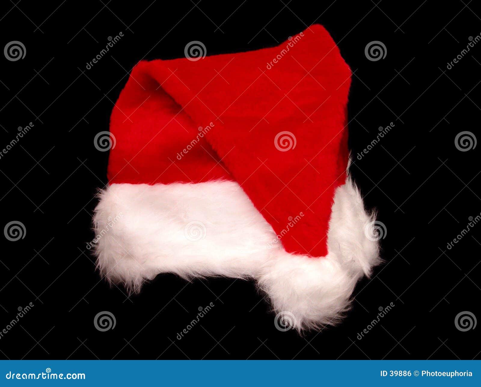 Cappello della Santa di natale sul nero