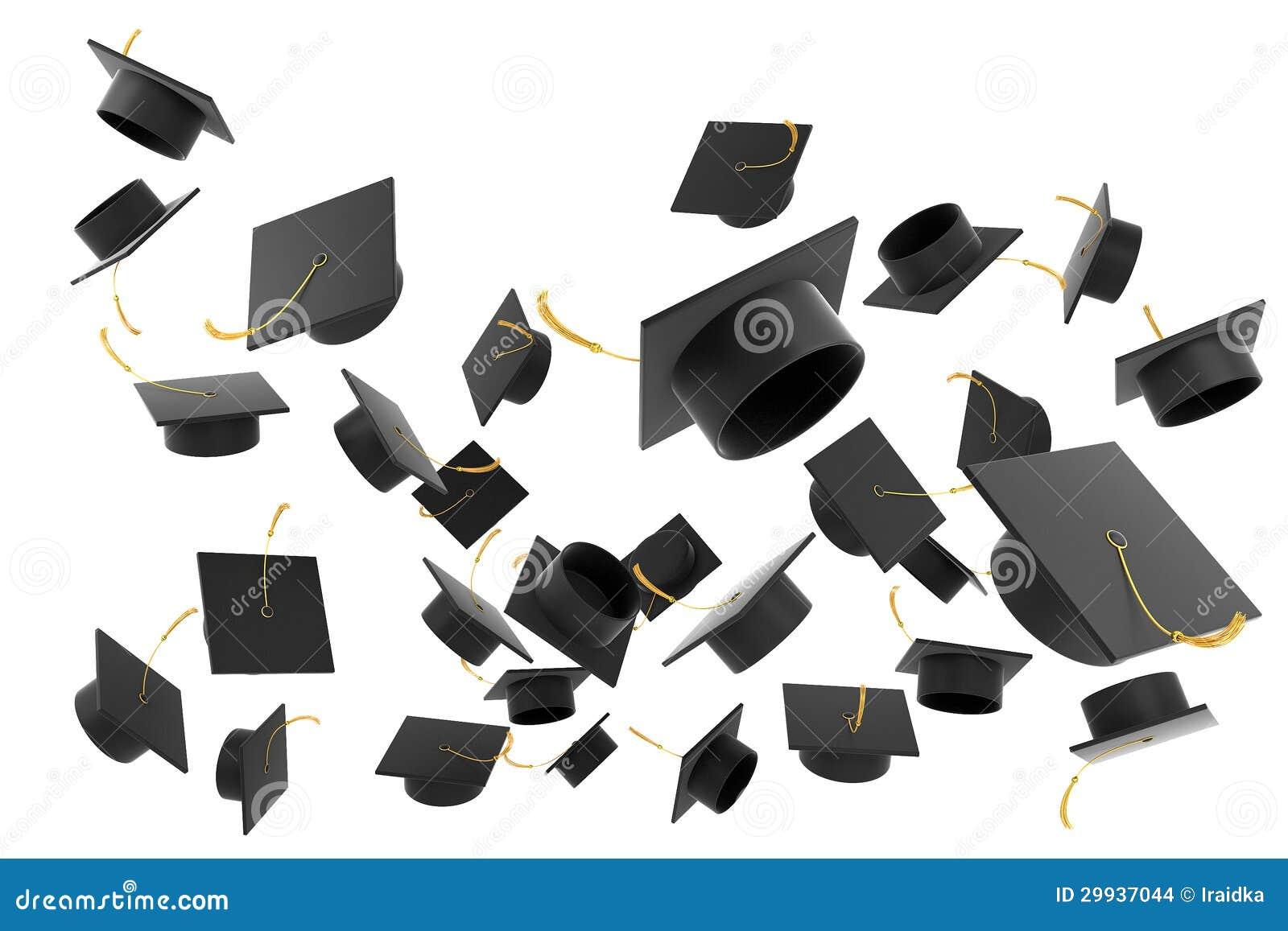Cappello di graduazione su fondo bianco