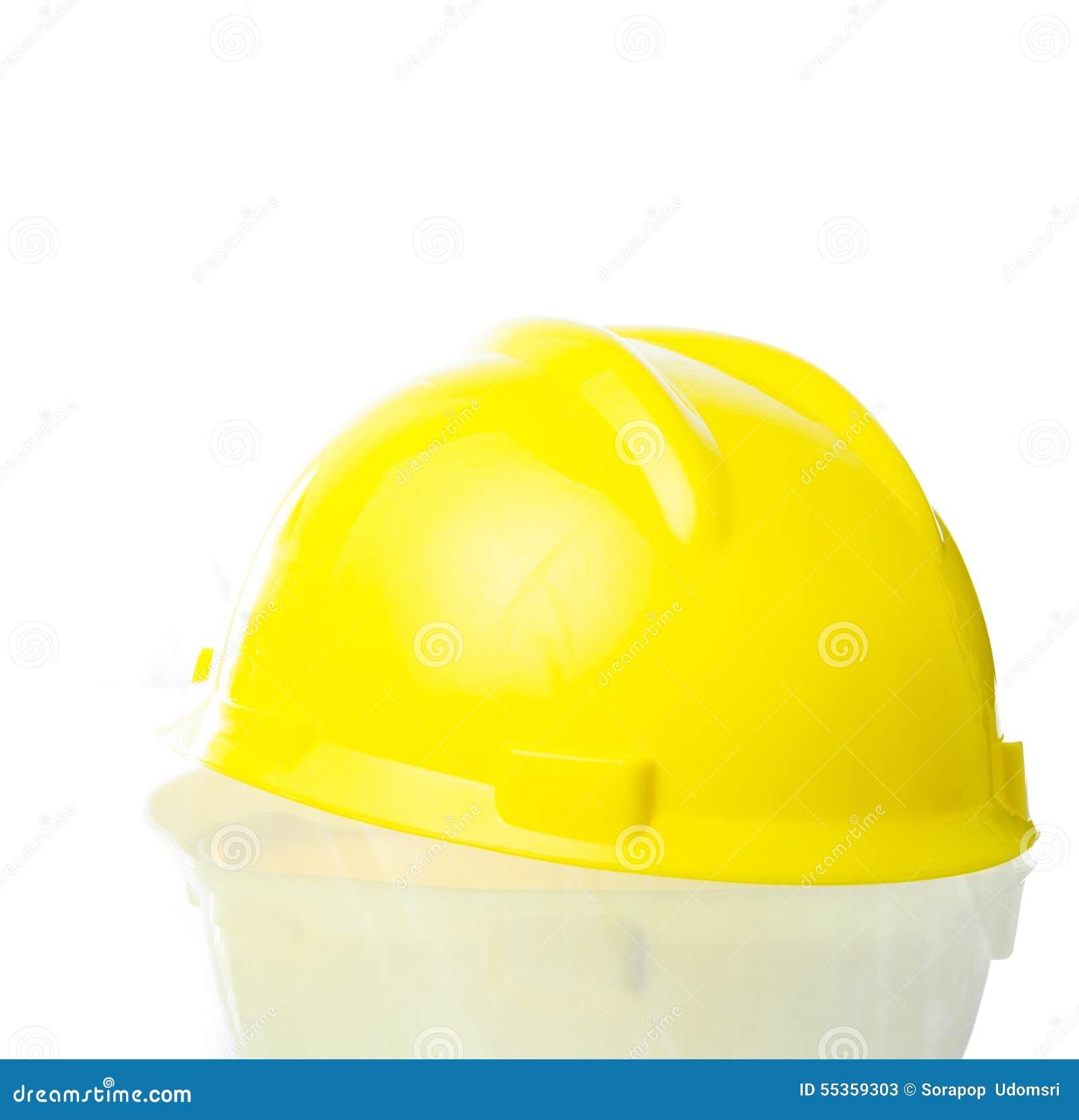 Cappello giallo duro per lavoro industriale, ingegneri, isolat dell architetto