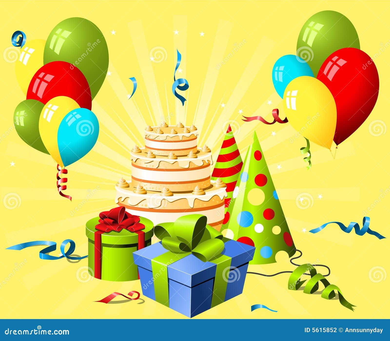 abbastanza Cappello, Regalo E Torta Di Compleanno Illustrazione Vettoriale  HT32