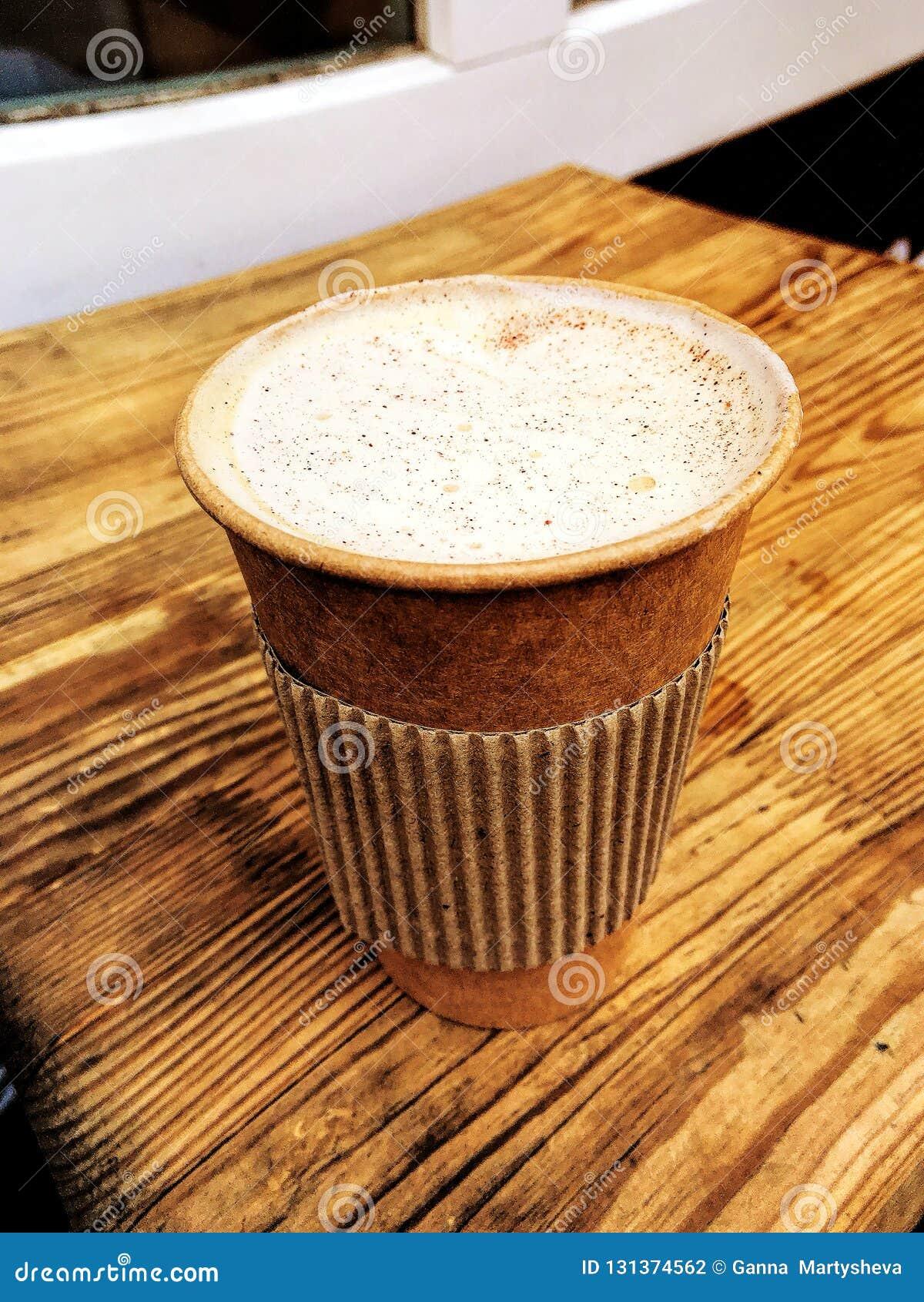 Cappuccino, φλυτζάνι εγγράφου, καφετερία, τοπ άποψη