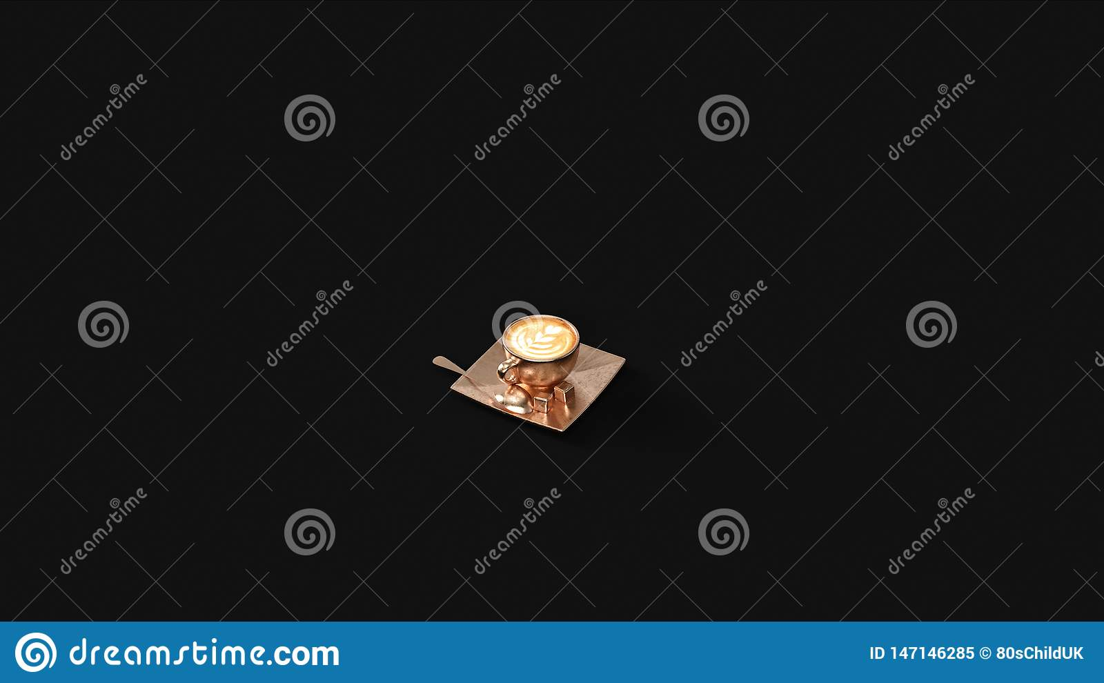 Cappuccino bronzeo in una tazza d ottone