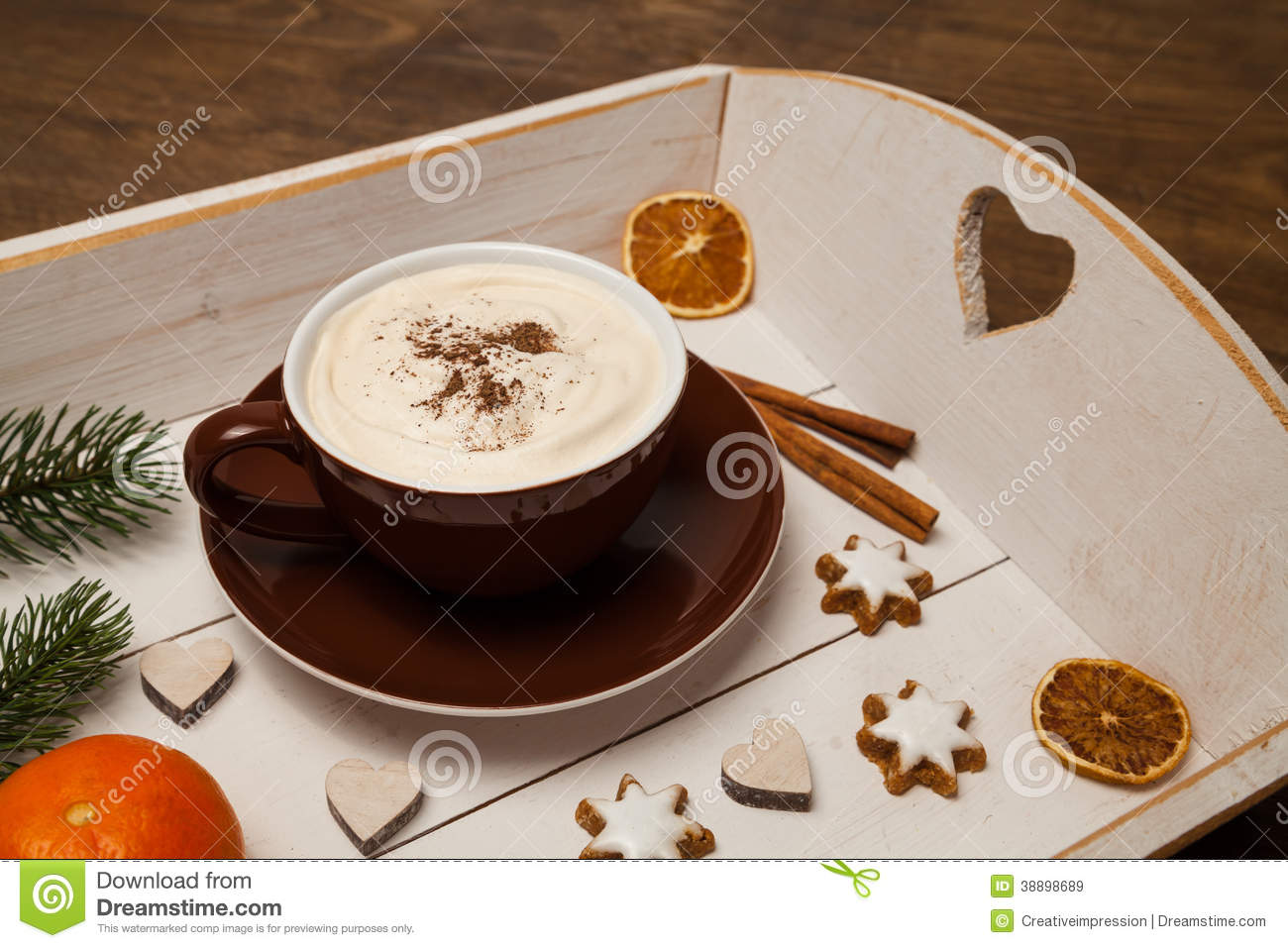 Cappuccino And Christmas Decoration Stock Image - Image of ...