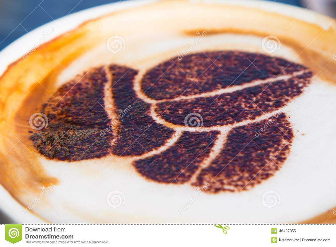 Cappuccino with a coffee bean drawing stock image image for How to draw a coffee bean