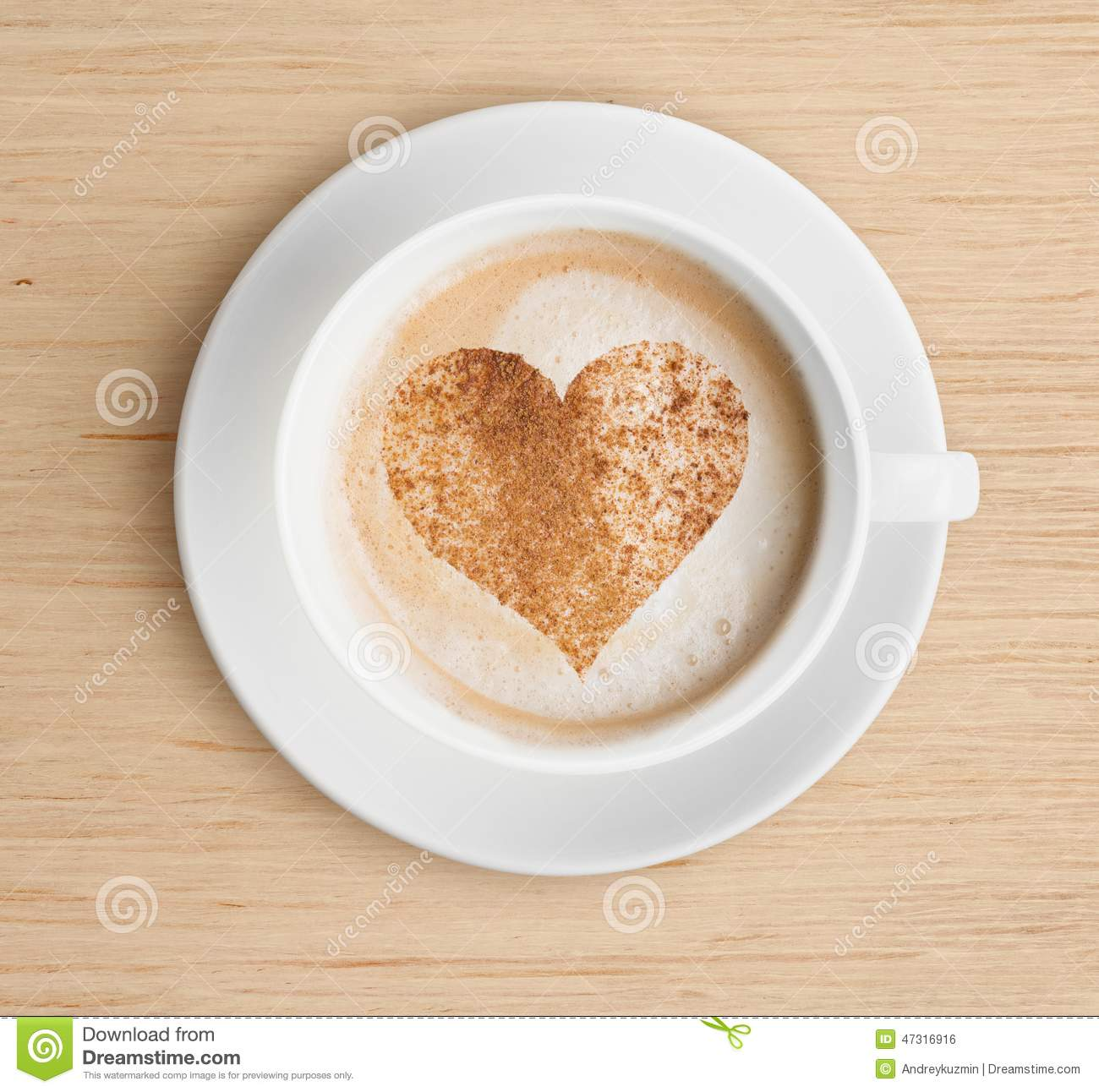 Cappuccino Coffee Cup With Foam And Heart Shape Stock ...